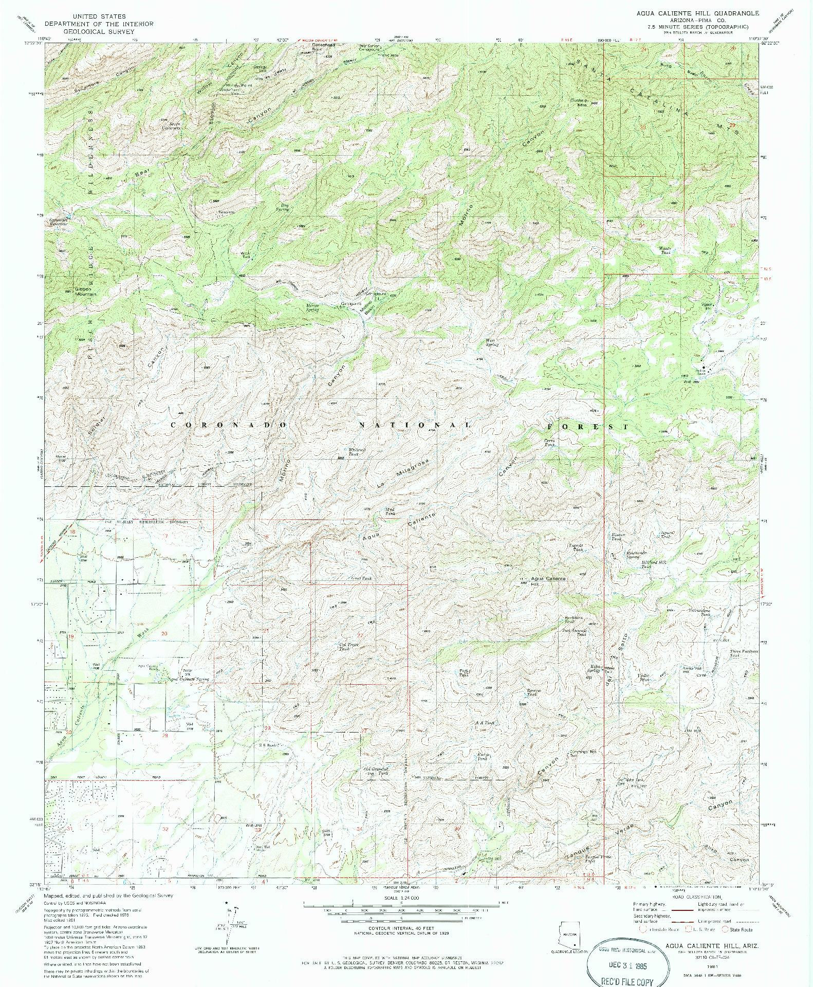 USGS 1:24000-SCALE QUADRANGLE FOR AGUA CALIENTE HILL, AZ 1981