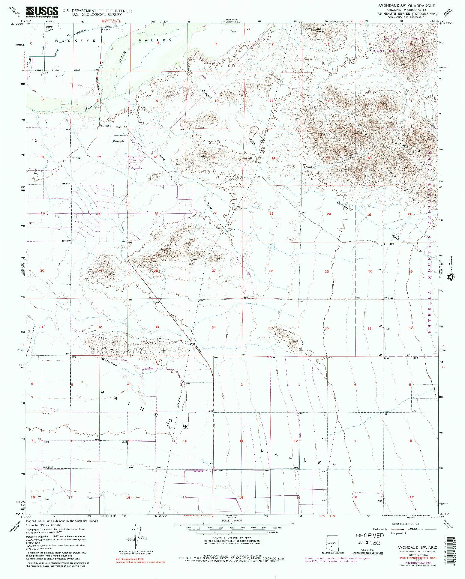 USGS 1:24000-SCALE QUADRANGLE FOR AVONDALE SW, AZ 1957