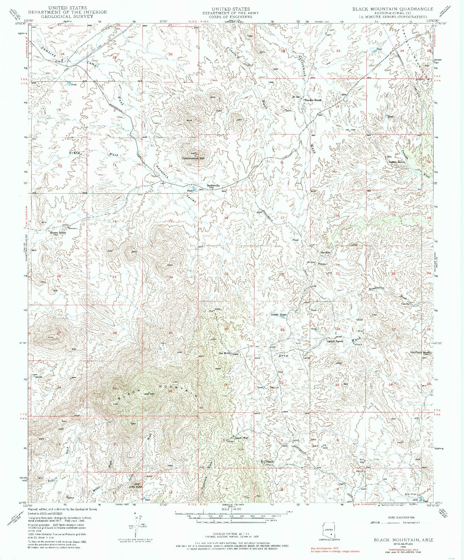 USGS 1:24000-SCALE QUADRANGLE FOR BLACK MOUNTAIN, AZ 1949