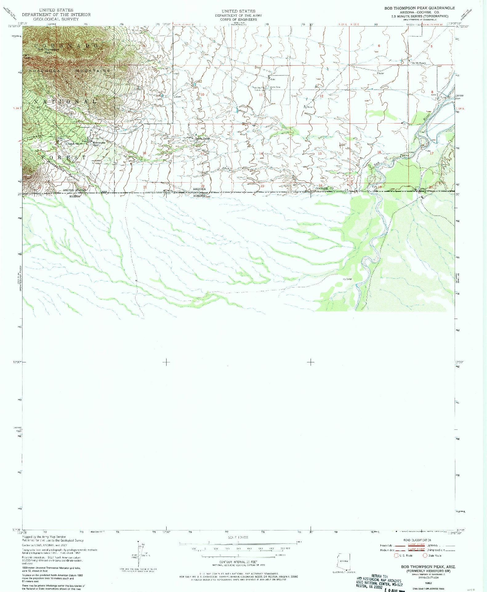 USGS 1:24000-SCALE QUADRANGLE FOR BOB THOMPSON PEAK, AZ 1952