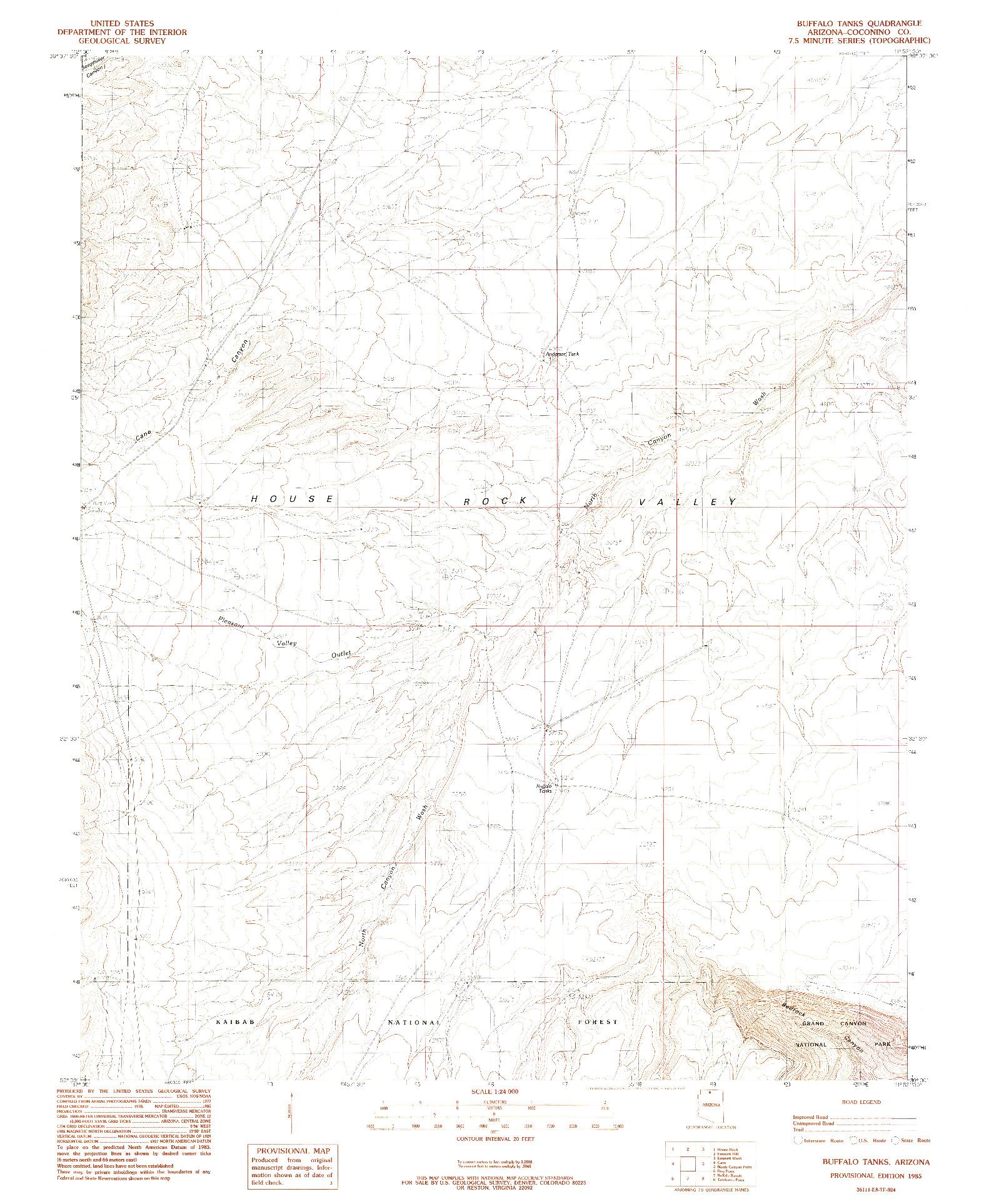 USGS 1:24000-SCALE QUADRANGLE FOR BUFFALO TANKS, AZ 1985