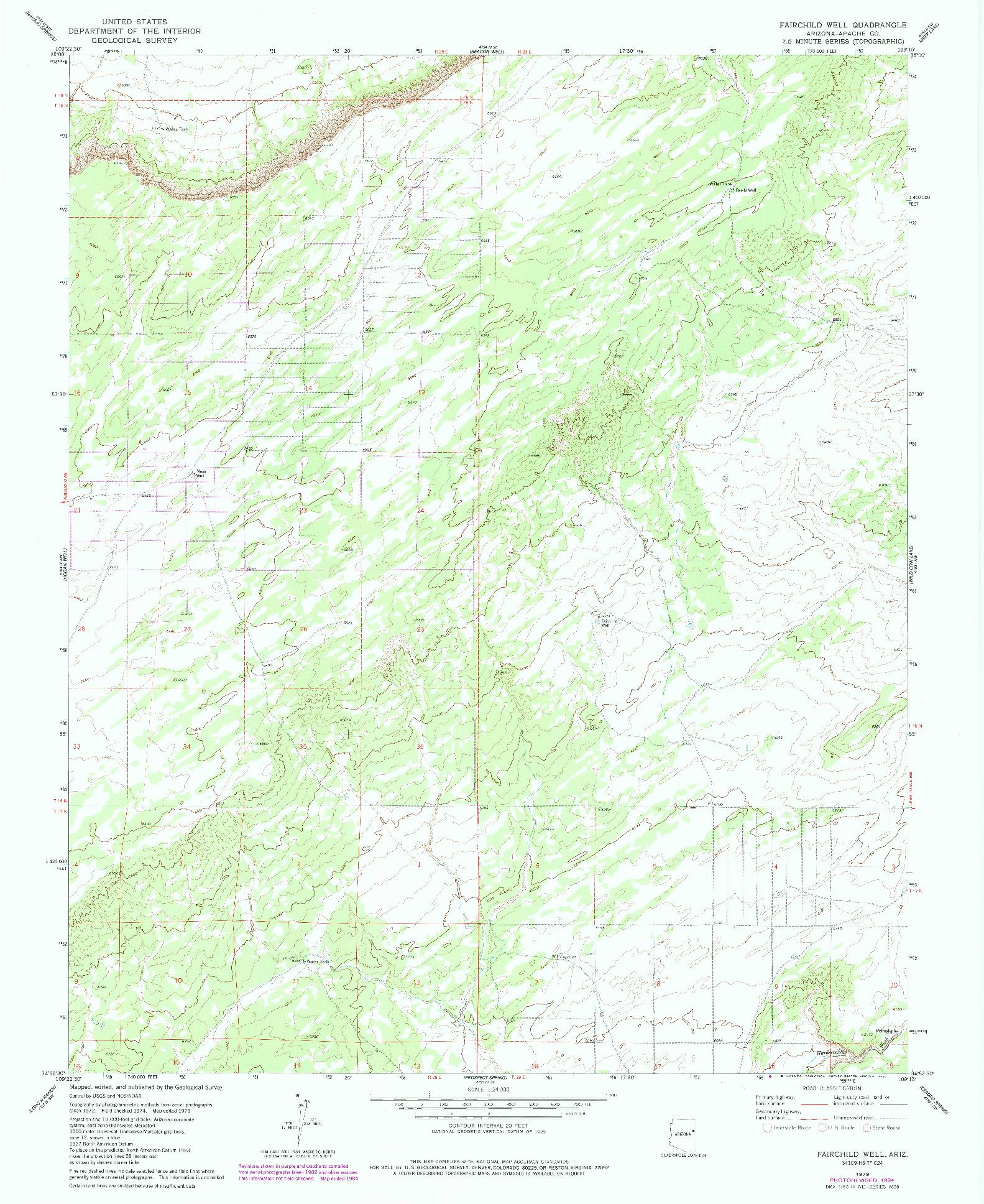 USGS 1:24000-SCALE QUADRANGLE FOR FAIRCHILD WELL, AZ 1979
