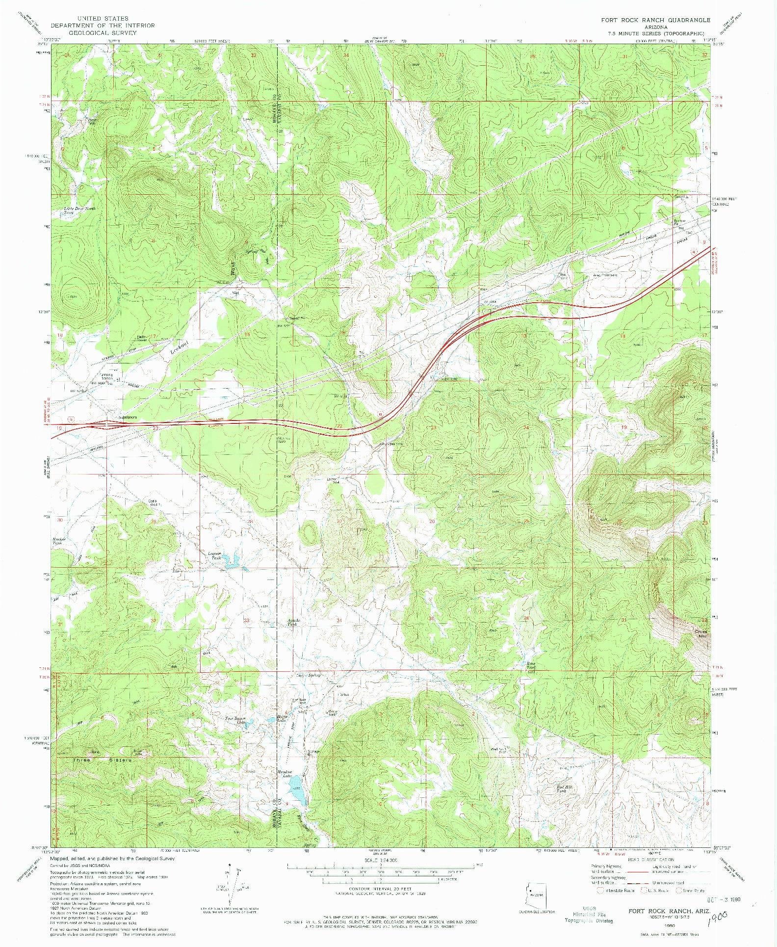 USGS 1:24000-SCALE QUADRANGLE FOR FORT ROCK RANCH, AZ 1980