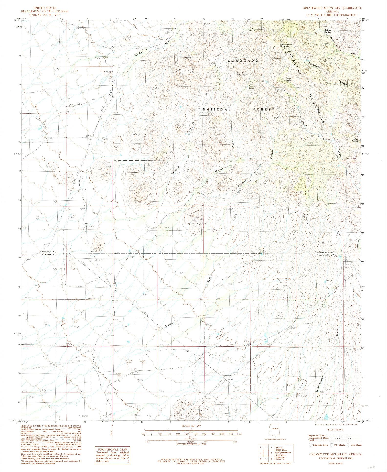 USGS 1:24000-SCALE QUADRANGLE FOR GREASEWOOD MOUNTAIN, AZ 1985