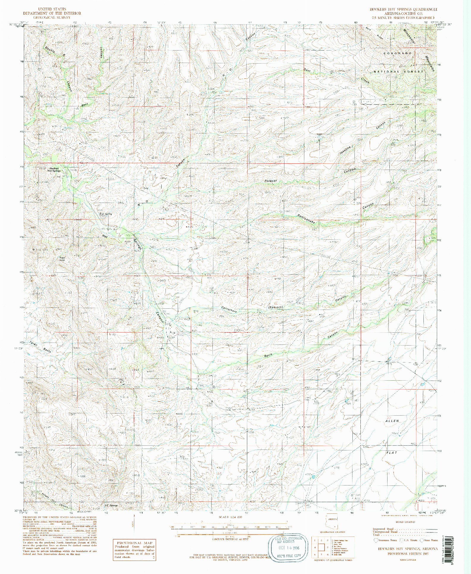 USGS 1:24000-SCALE QUADRANGLE FOR HOOKERS HOT SPRINGS, AZ 1985