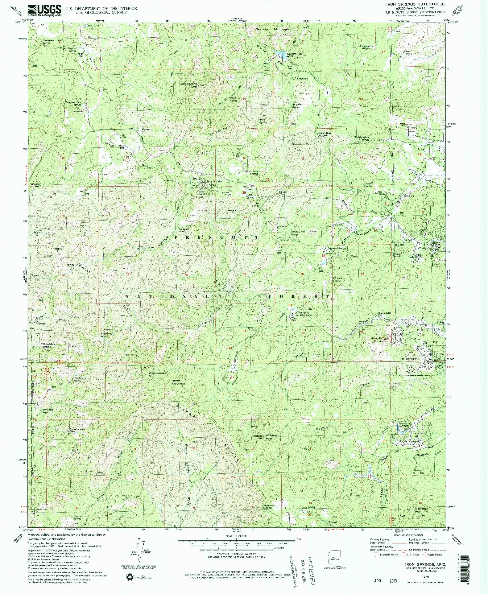 USGS 1:24000-SCALE QUADRANGLE FOR IRON SPRINGS, AZ 1979