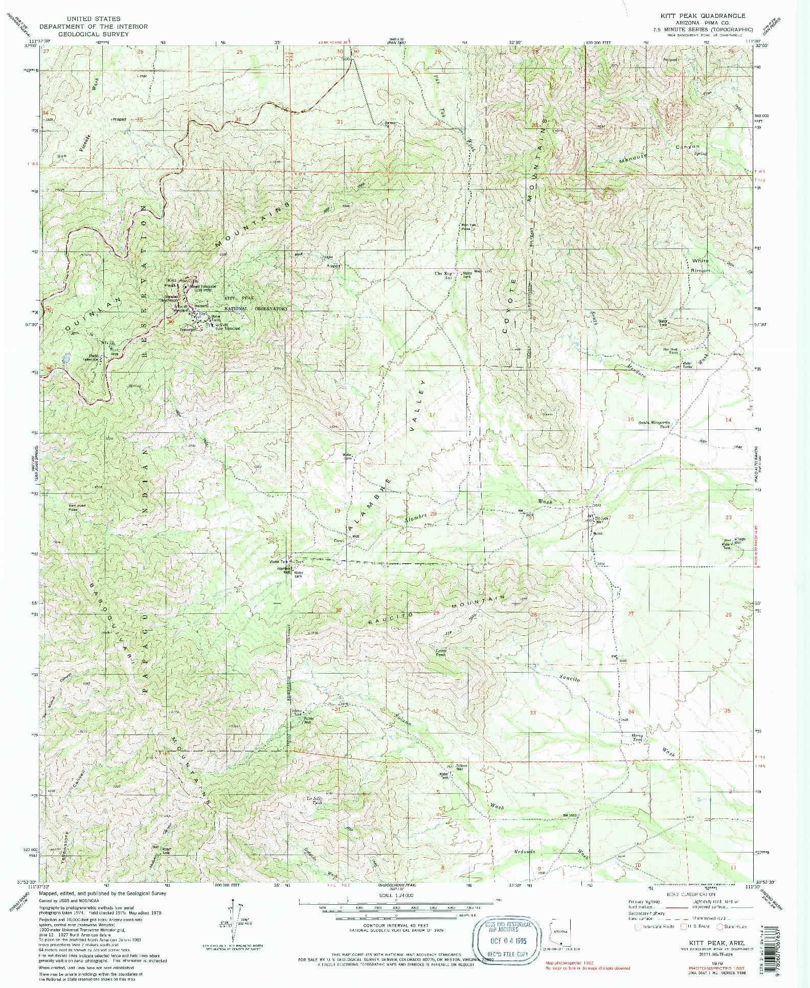 USGS 1:24000-SCALE QUADRANGLE FOR KITT PEAK, AZ 1979
