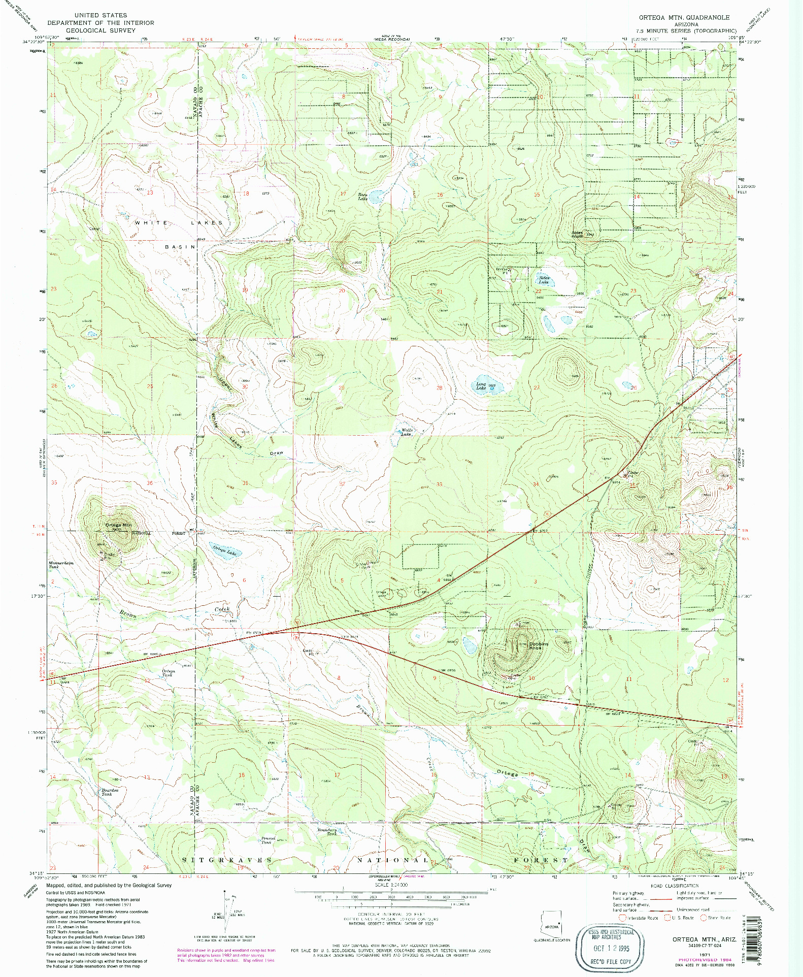USGS 1:24000-SCALE QUADRANGLE FOR ORTEGA MOUNTAIN, AZ 1971
