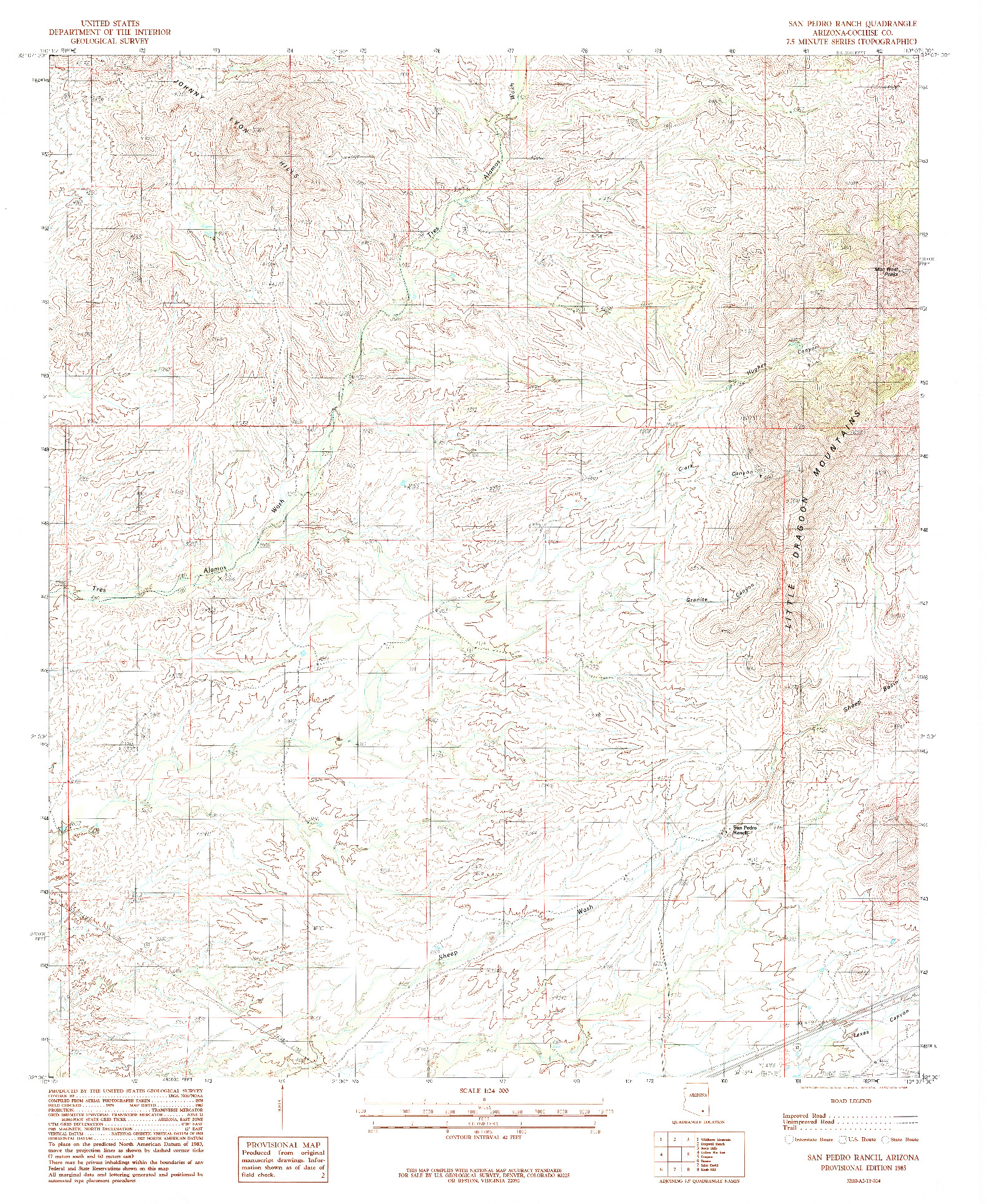 USGS 1:24000-SCALE QUADRANGLE FOR SAN PEDRO RANCH, AZ 1985