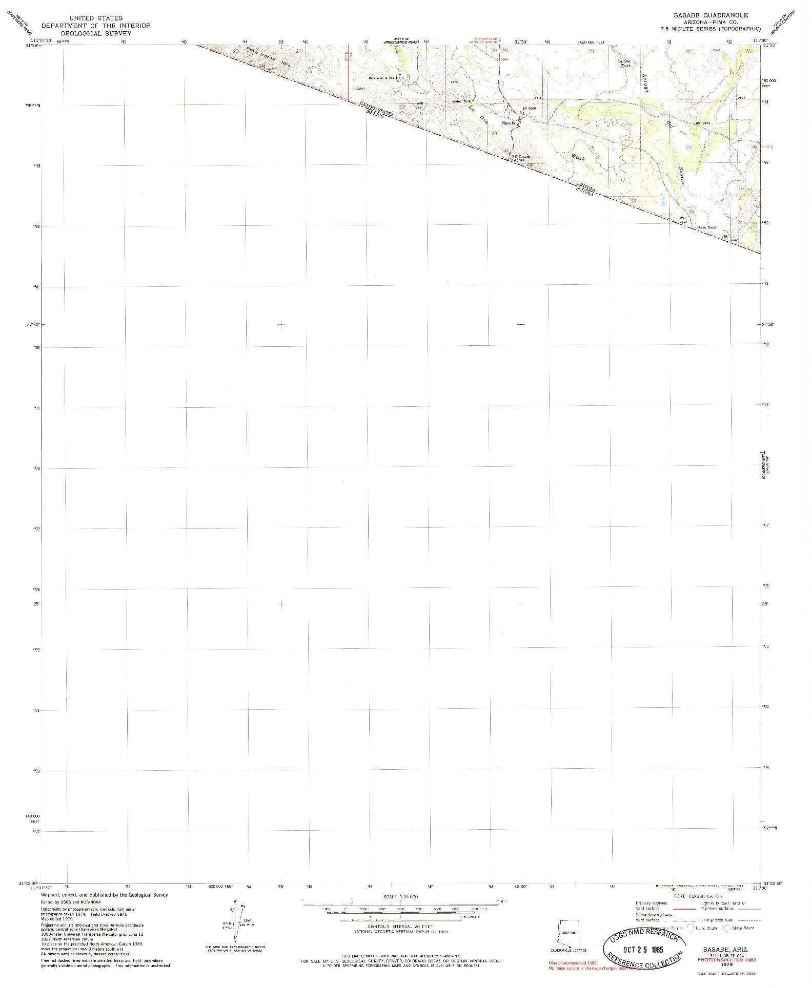 USGS 1:24000-SCALE QUADRANGLE FOR SASABE, AZ 1979