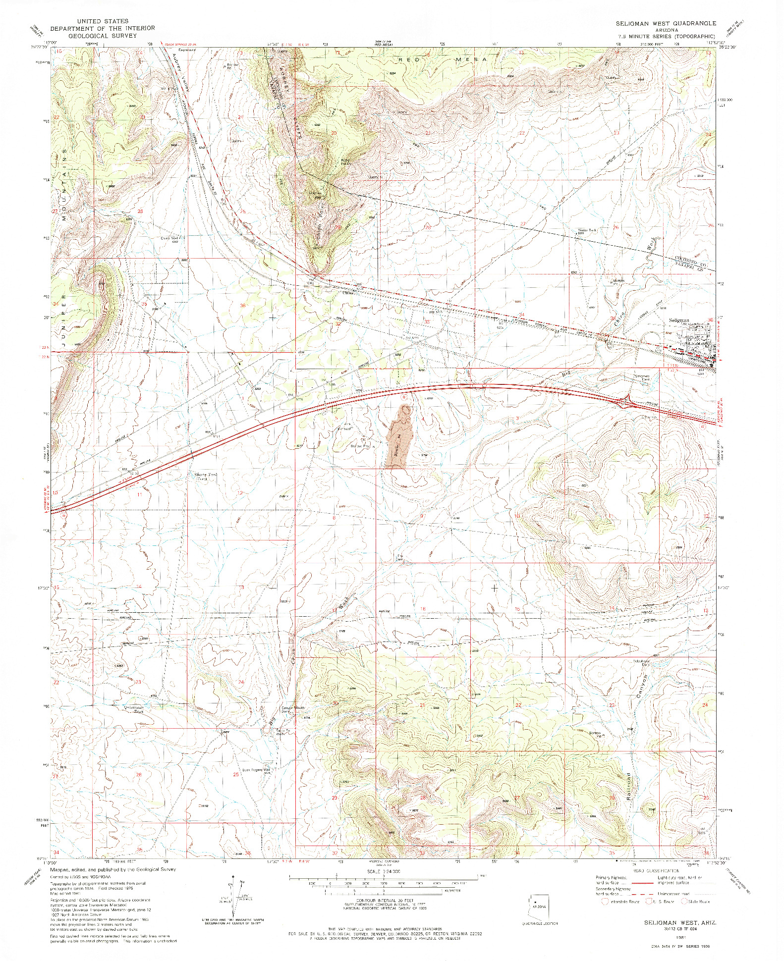 USGS 1:24000-SCALE QUADRANGLE FOR SELIGMAN WEST, AZ 1981