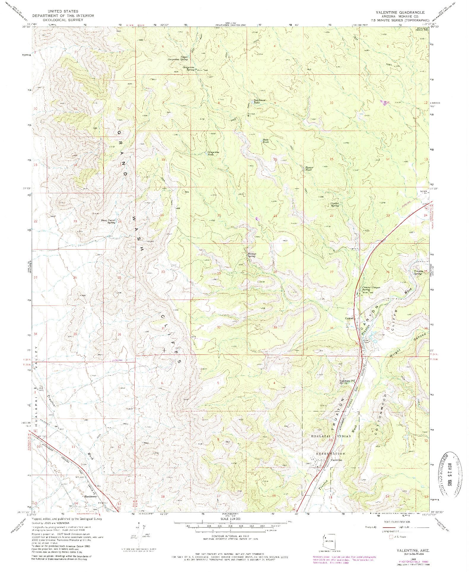 USGS 1:24000-SCALE QUADRANGLE FOR VALENTINE, AZ 1968