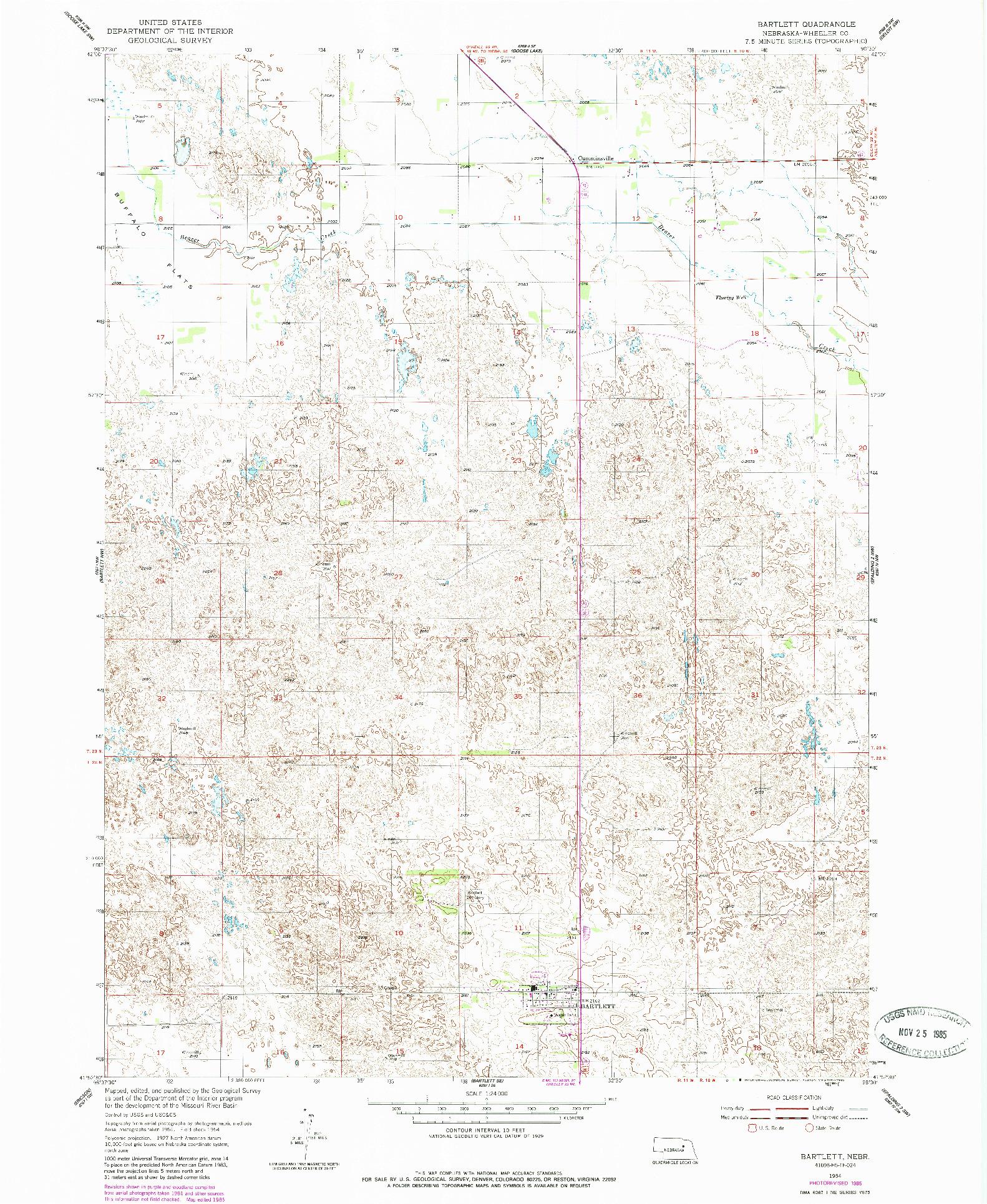 USGS 1:24000-SCALE QUADRANGLE FOR BARTLETT, NE 1954