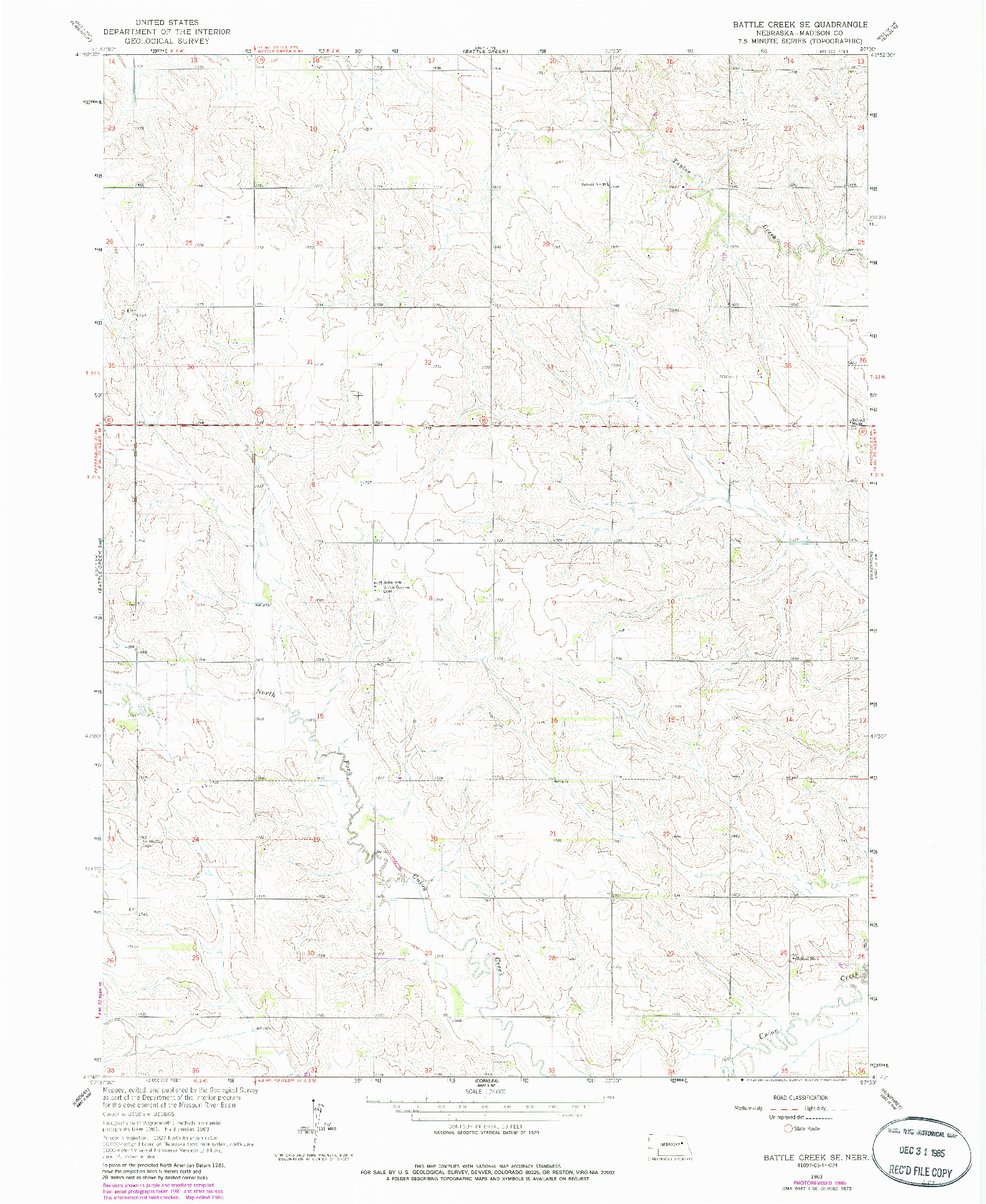 USGS 1:24000-SCALE QUADRANGLE FOR BATTLE CREEK SE, NE 1963