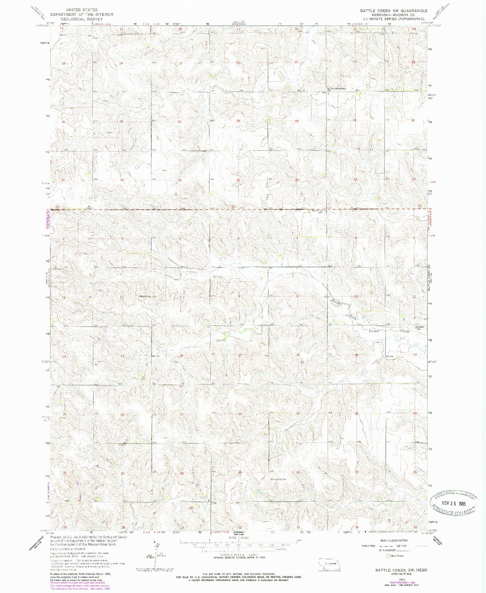 USGS 1:24000-SCALE QUADRANGLE FOR BATTLE CREEK SW, NE 1963