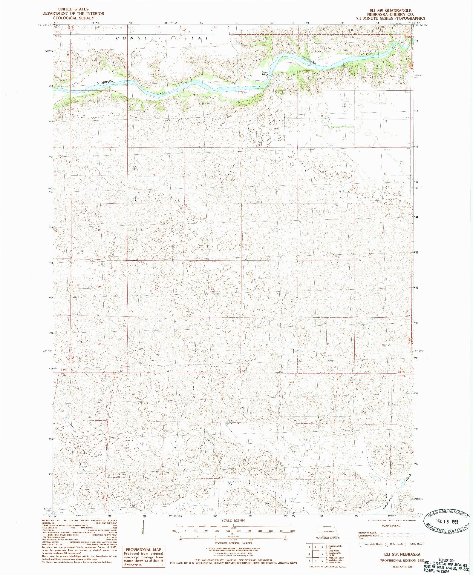 USGS 1:24000-SCALE QUADRANGLE FOR ELI SW, NE 1985
