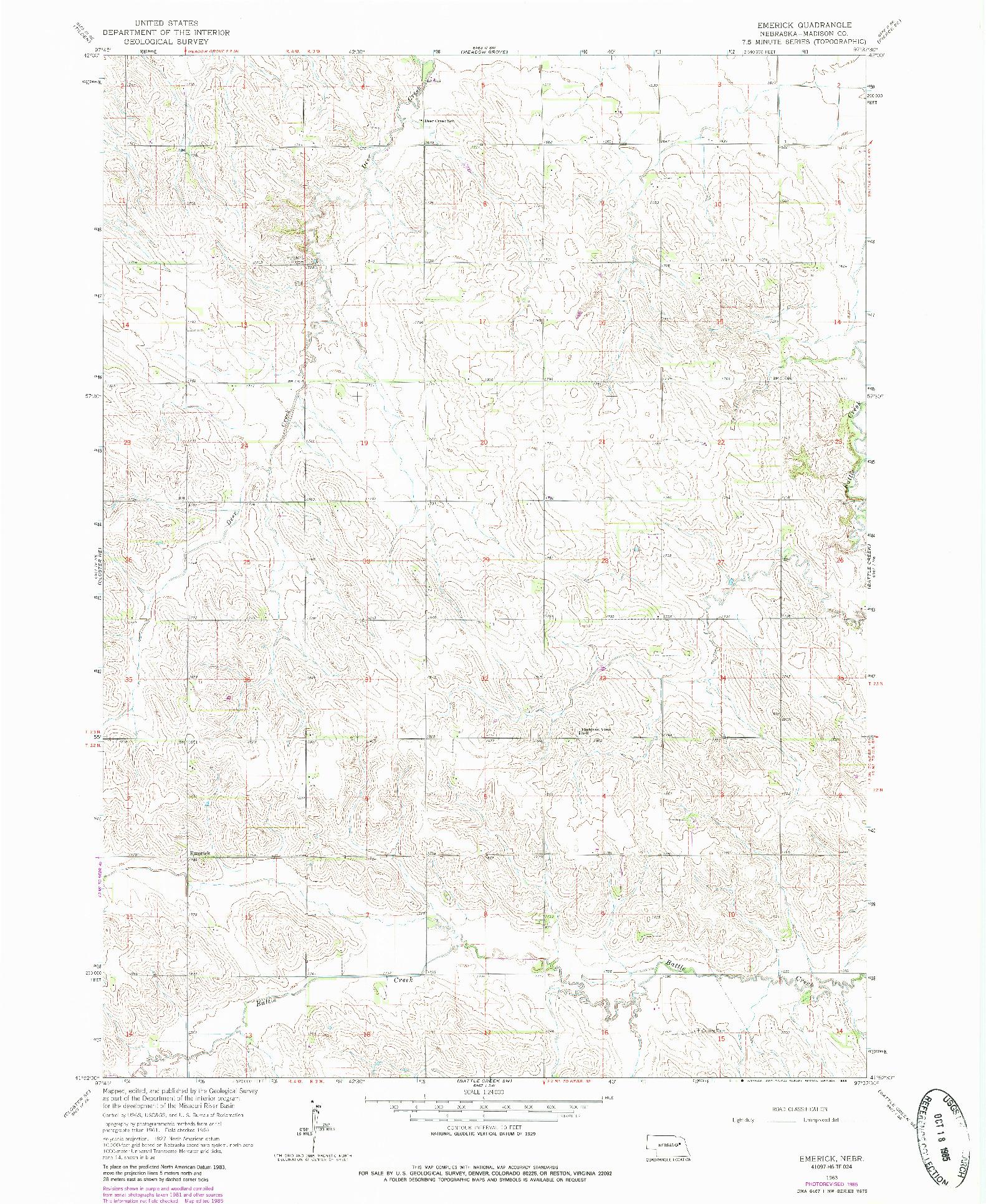 USGS 1:24000-SCALE QUADRANGLE FOR EMERICK, NE 1963
