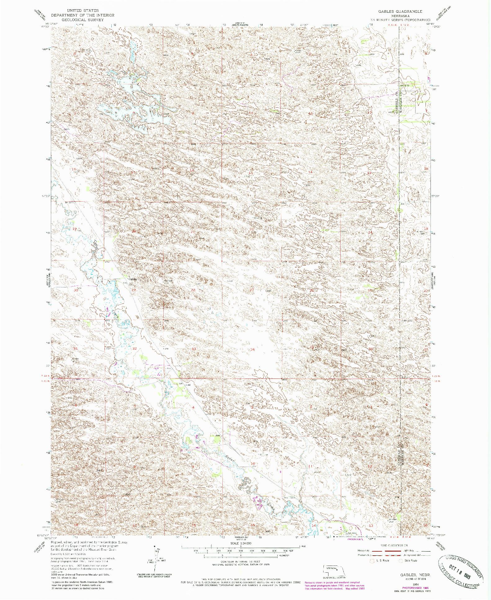 USGS 1:24000-SCALE QUADRANGLE FOR GABLES, NE 1954