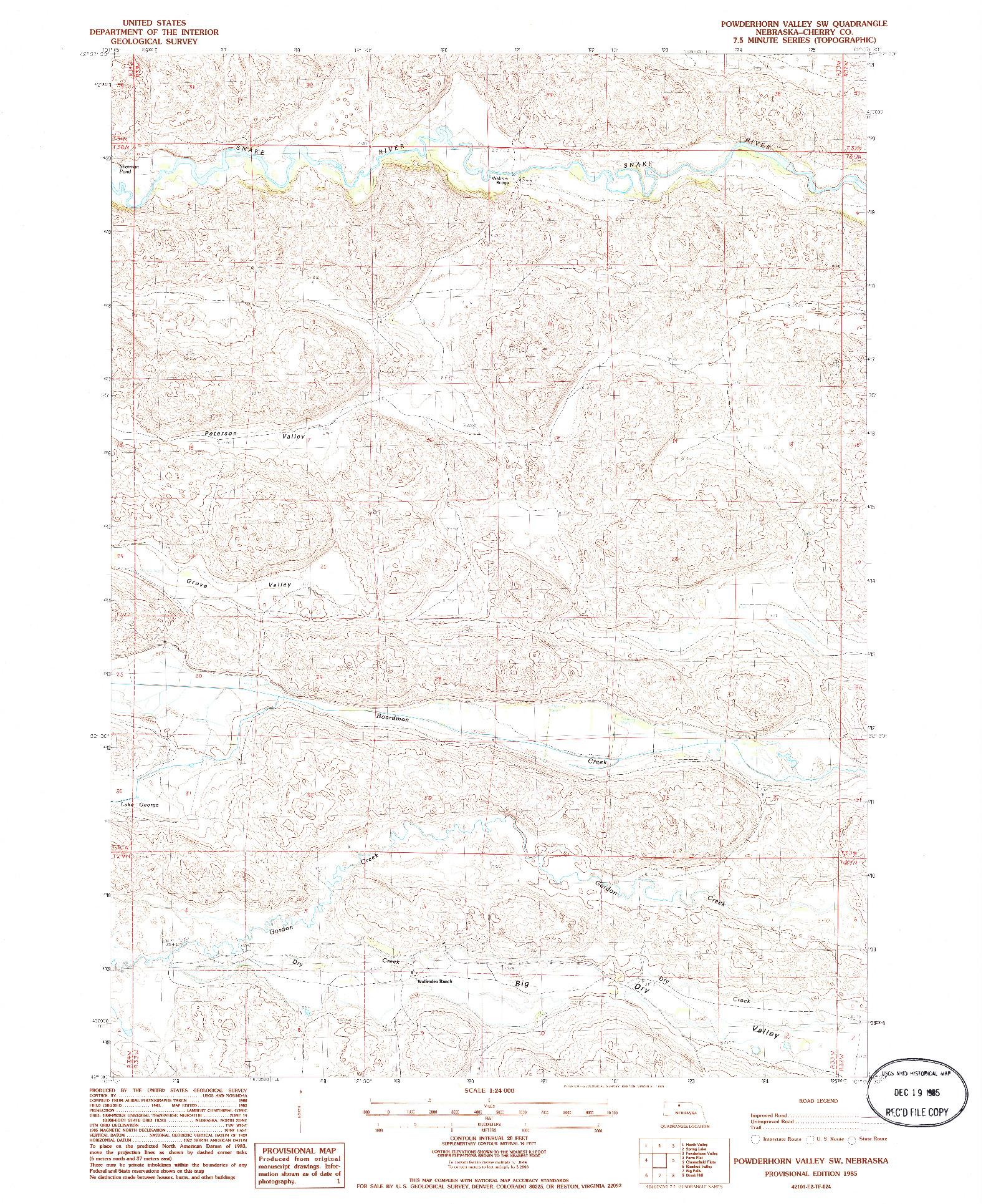 USGS 1:24000-SCALE QUADRANGLE FOR POWDERHORN VALLEY SW, NE 1985