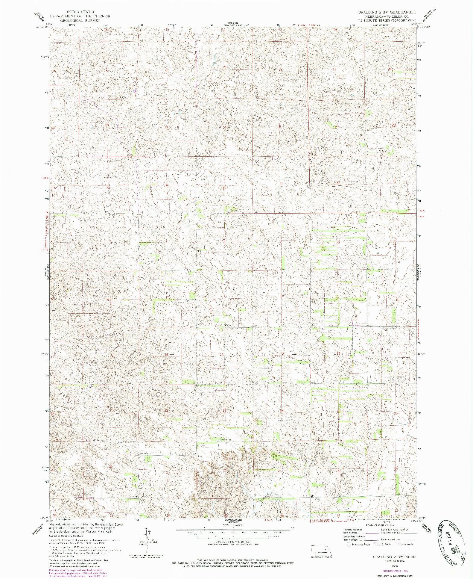USGS 1:24000-SCALE QUADRANGLE FOR SPALDING 2 SW, NE 1960