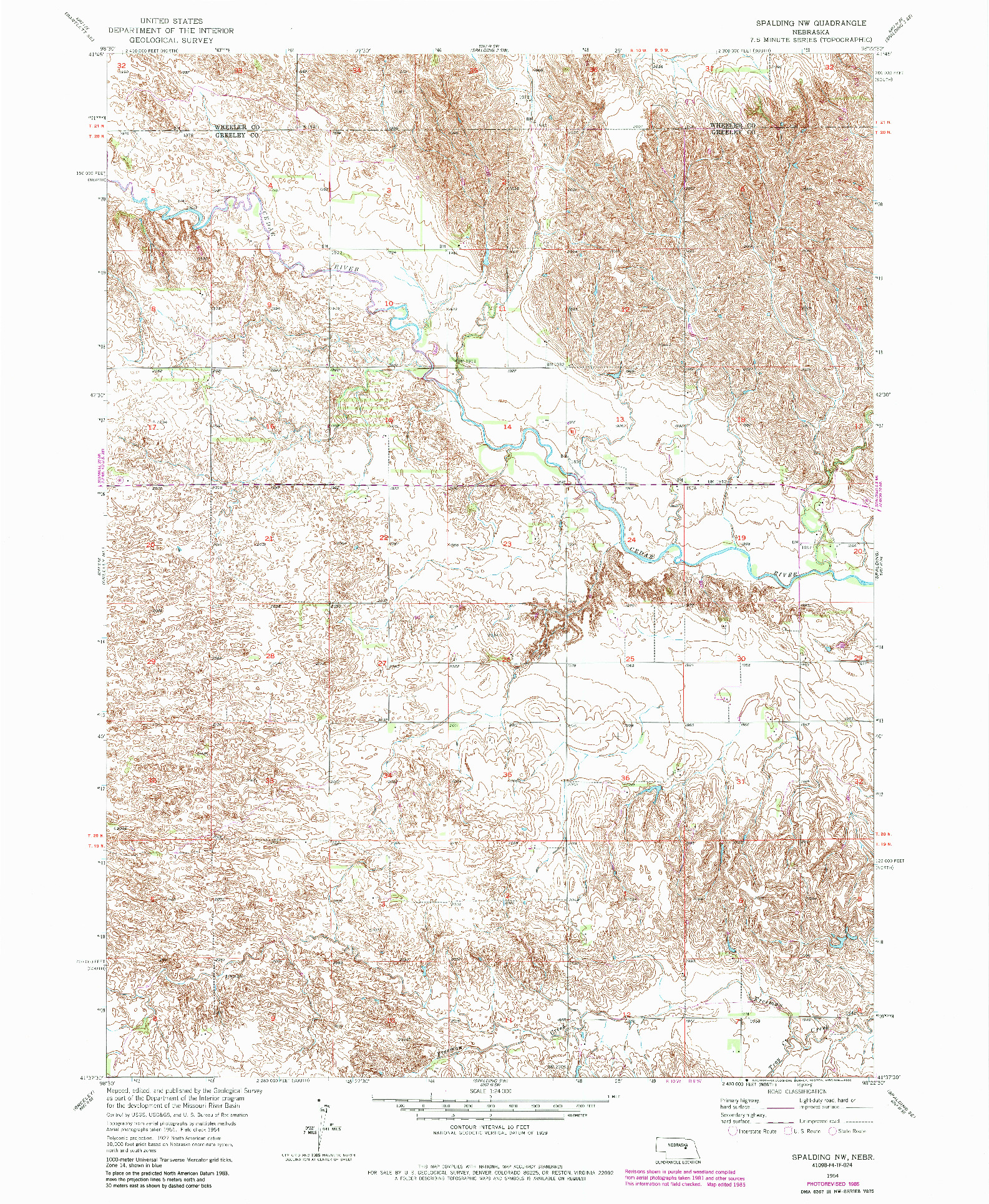 USGS 1:24000-SCALE QUADRANGLE FOR SPALDING NW, NE 1954
