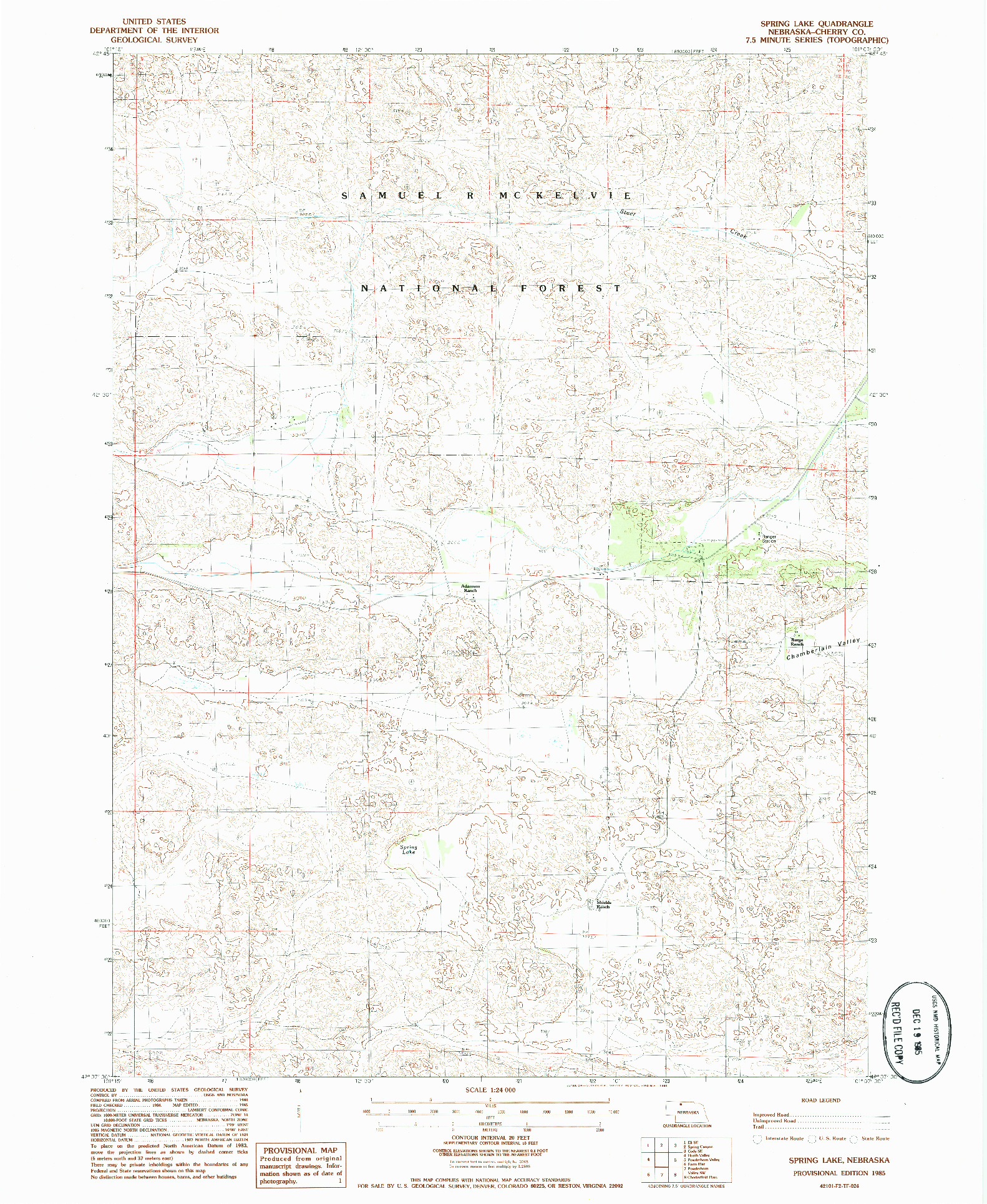 USGS 1:24000-SCALE QUADRANGLE FOR SPRING LAKE, NE 1985