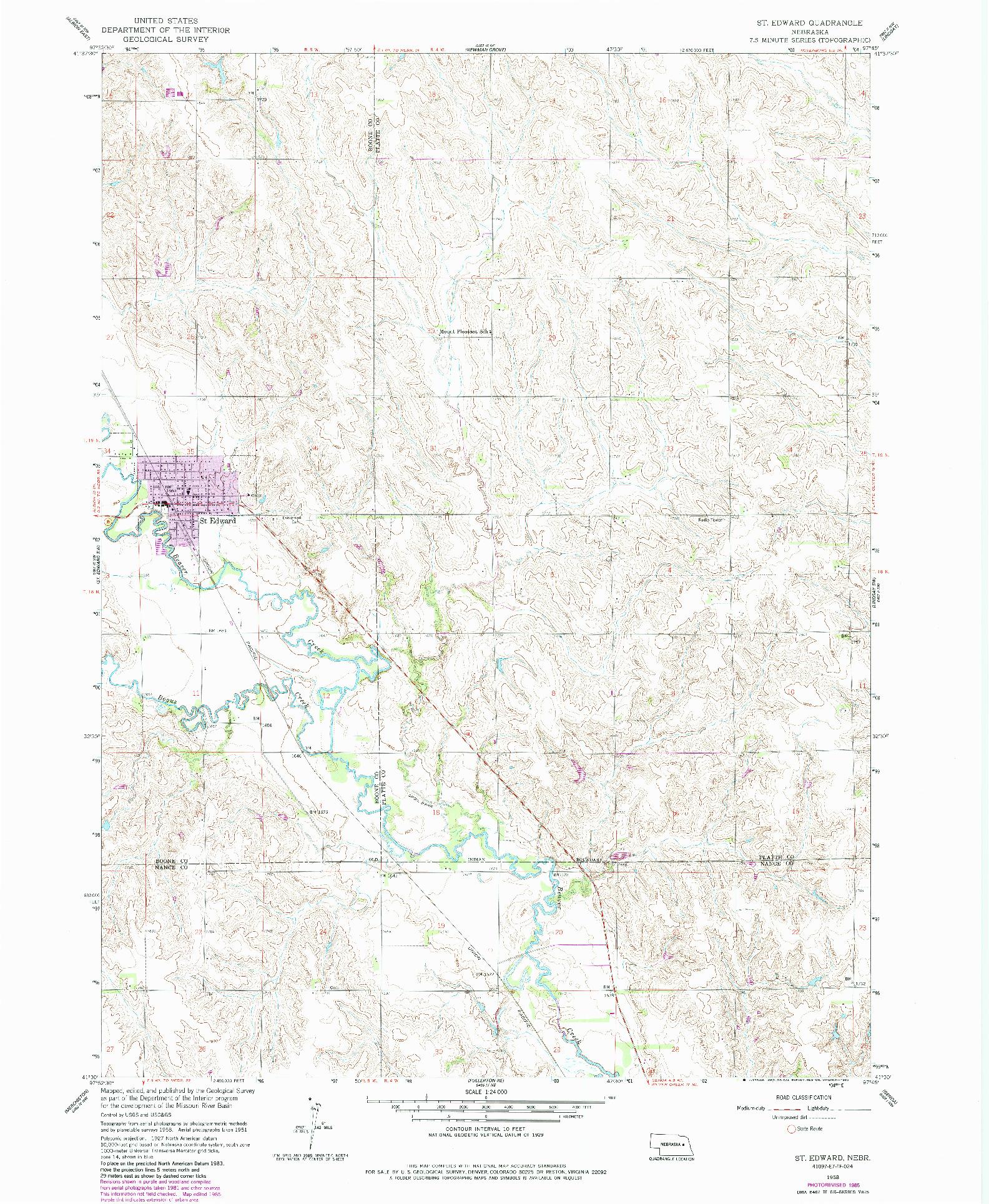 USGS 1:24000-SCALE QUADRANGLE FOR ST. EDWARD, NE 1958