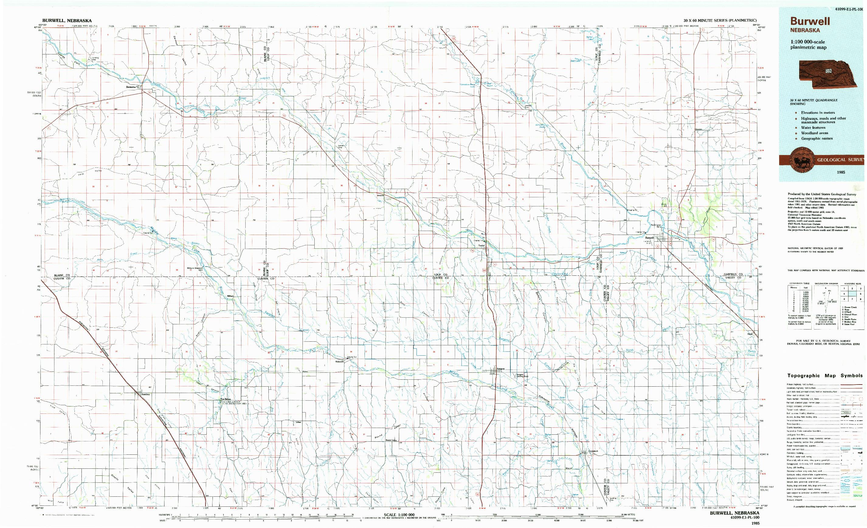 USGS 1:100000-SCALE QUADRANGLE FOR BURWELL, NE 1985