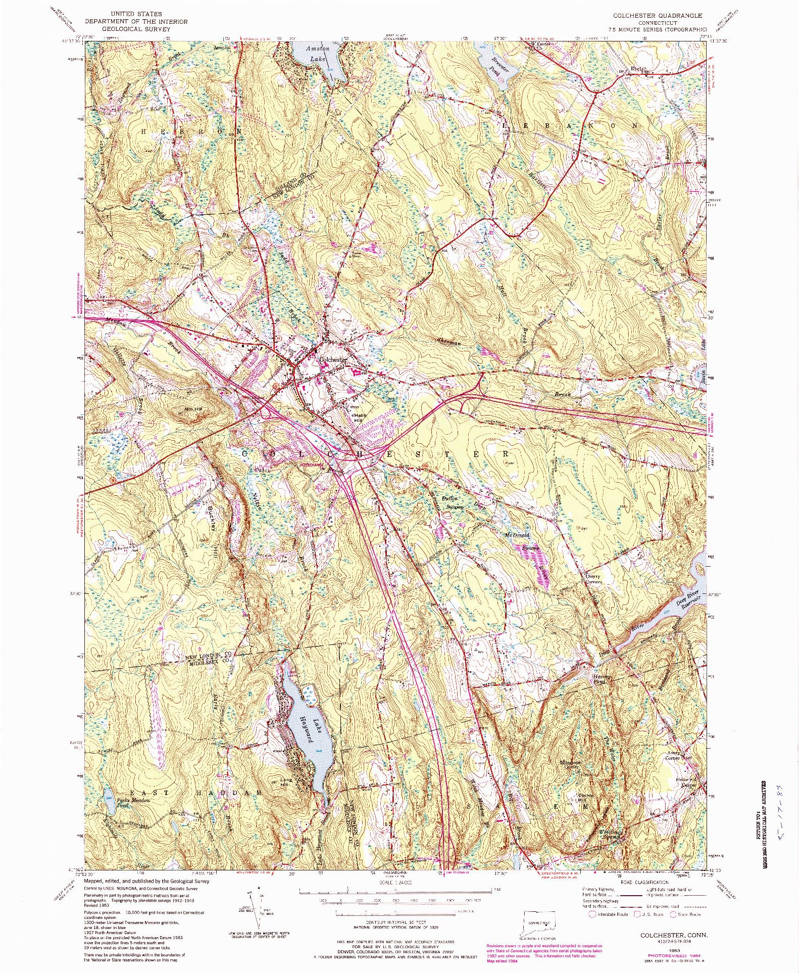 USGS 1:24000-SCALE QUADRANGLE FOR COLCHESTER, CT 1953