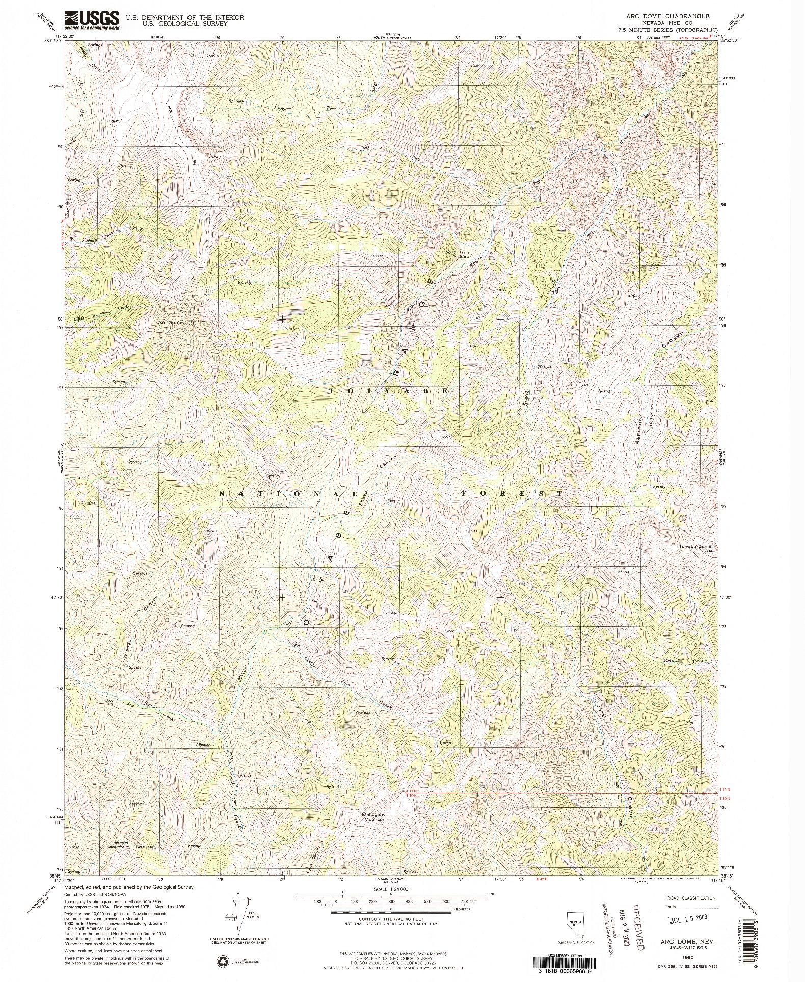 USGS 1:24000-SCALE QUADRANGLE FOR ARC DOME, NV 1980