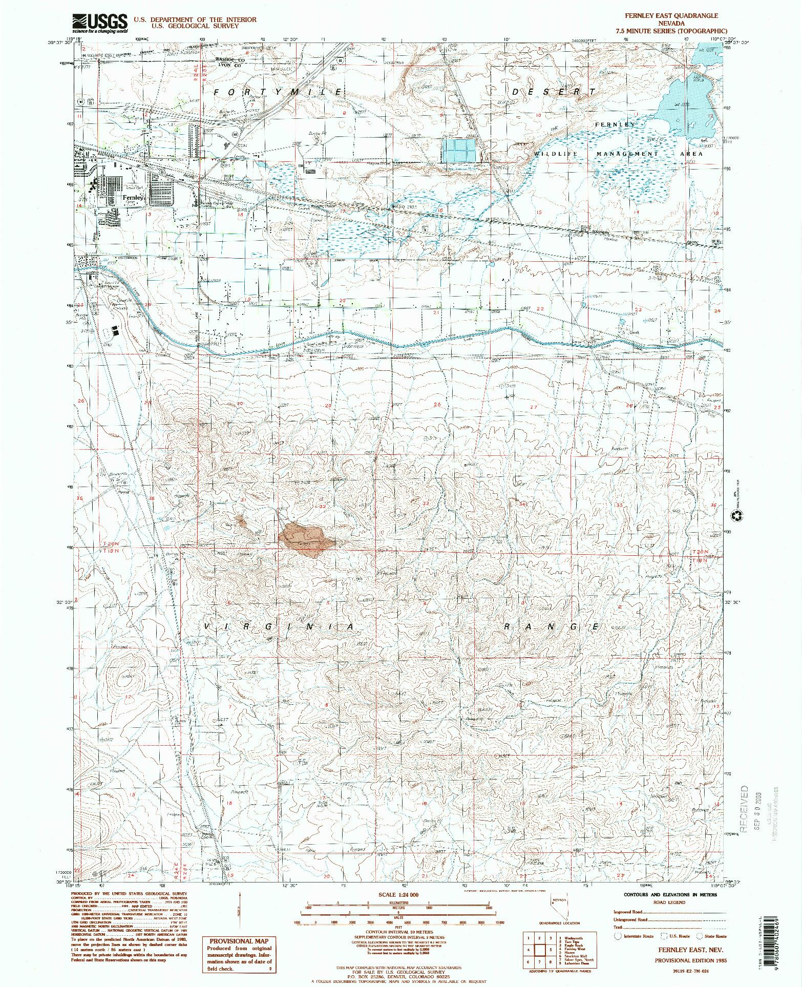 USGS 1:24000-SCALE QUADRANGLE FOR FERNLEY EAST, NV 1985