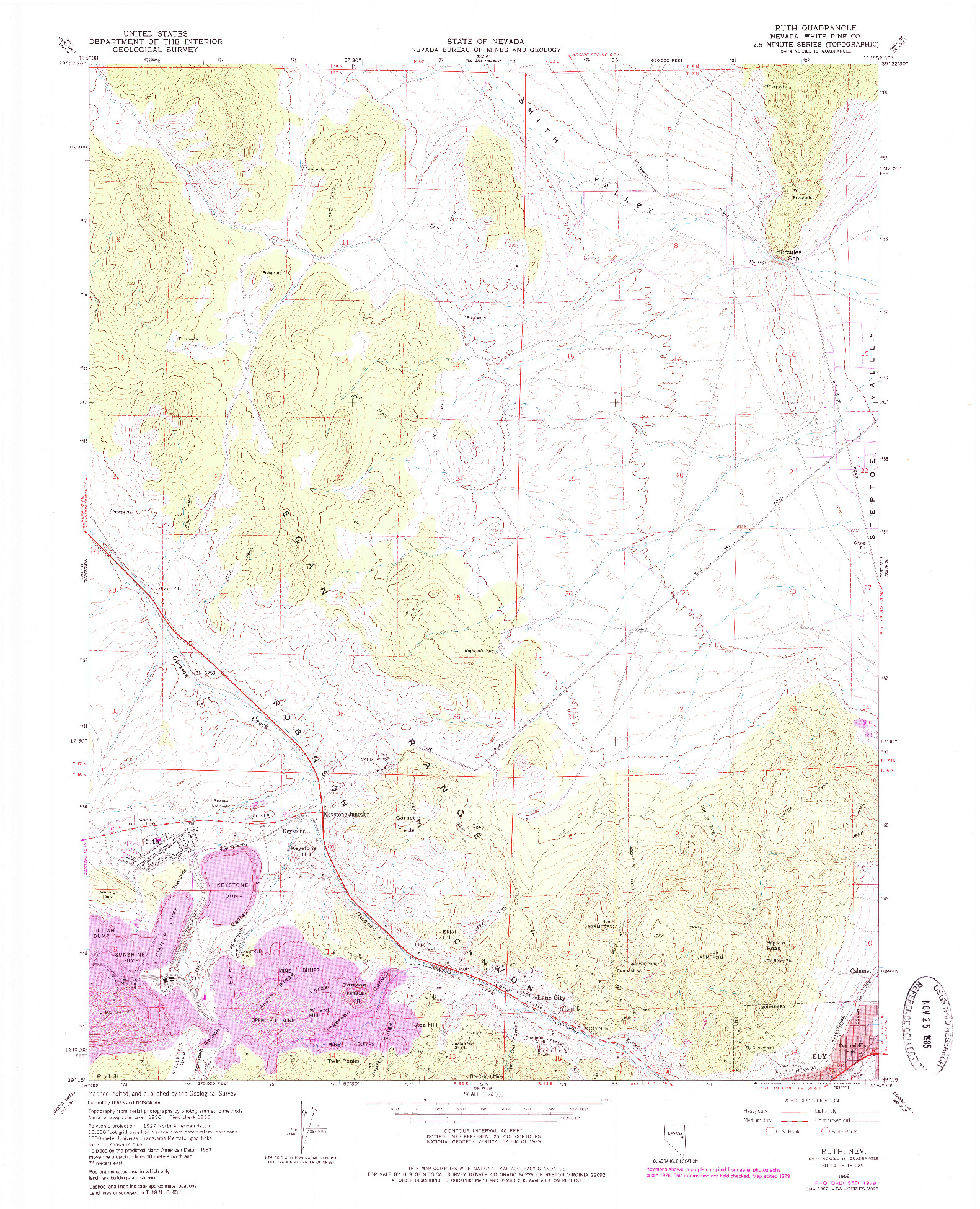 USGS 1:24000-SCALE QUADRANGLE FOR RUTH, NV 1958
