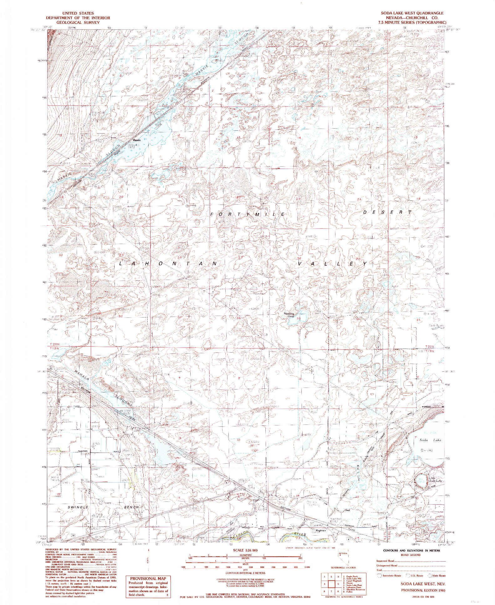 USGS 1:24000-SCALE QUADRANGLE FOR SODA LAKE WEST, NV 1985