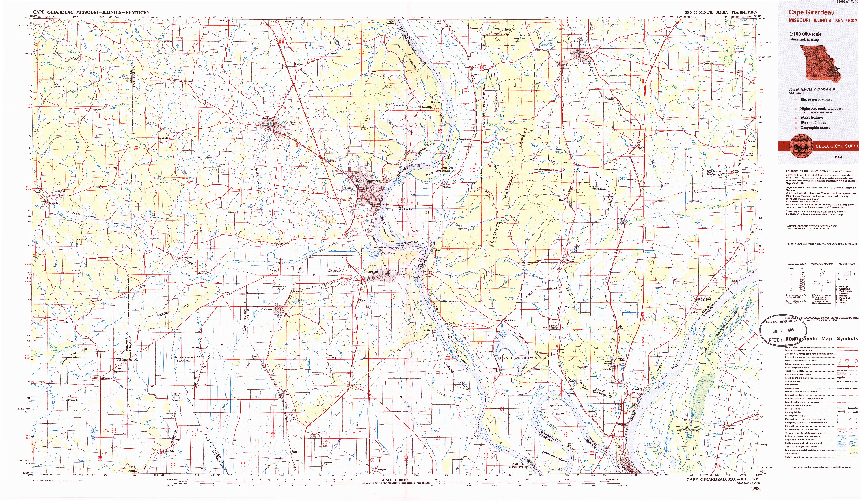 USGS 1:100000-SCALE QUADRANGLE FOR CAPE GIRARDEAU, MO 1984