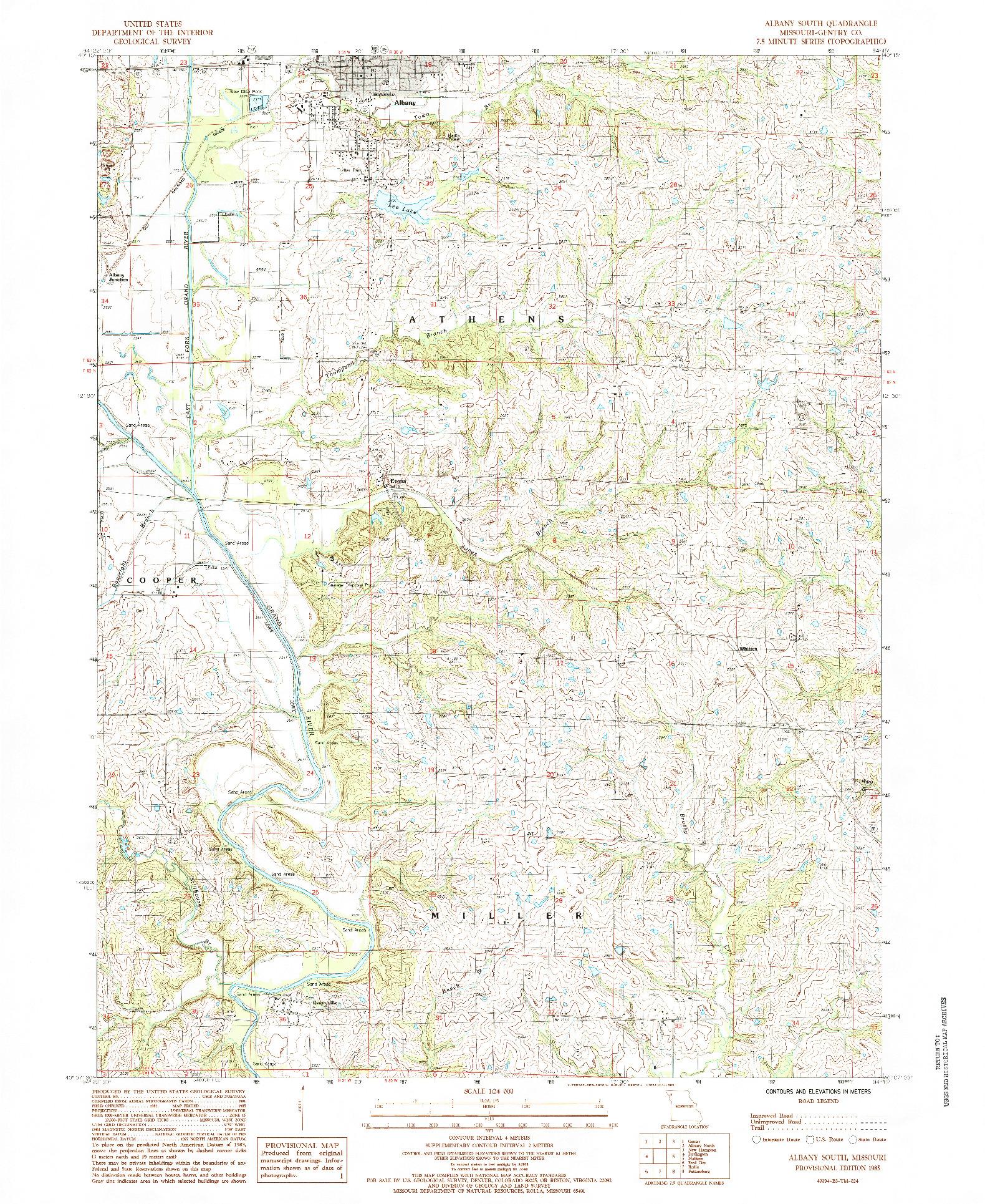 USGS 1:24000-SCALE QUADRANGLE FOR ALBANY SOUTH, MO 1985