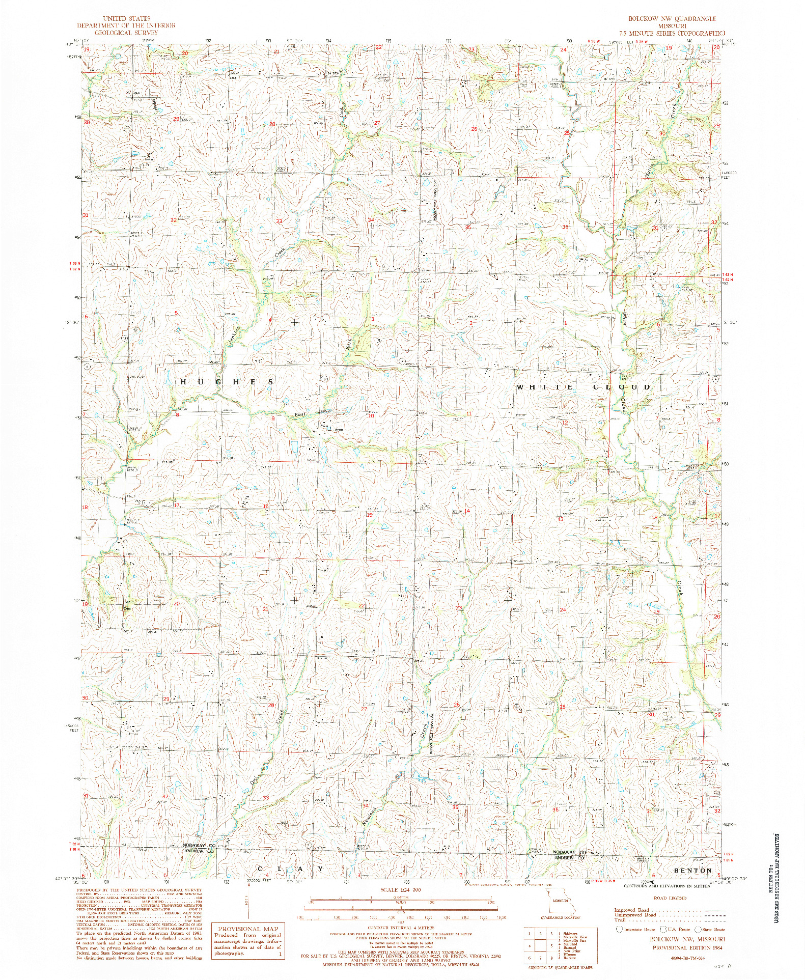 USGS 1:24000-SCALE QUADRANGLE FOR BOLCKOW NW, MO 1984