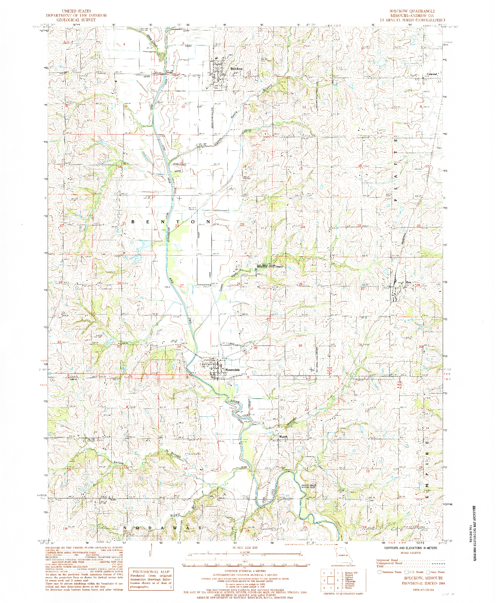 USGS 1:24000-SCALE QUADRANGLE FOR BOLCKOW, MO 1984