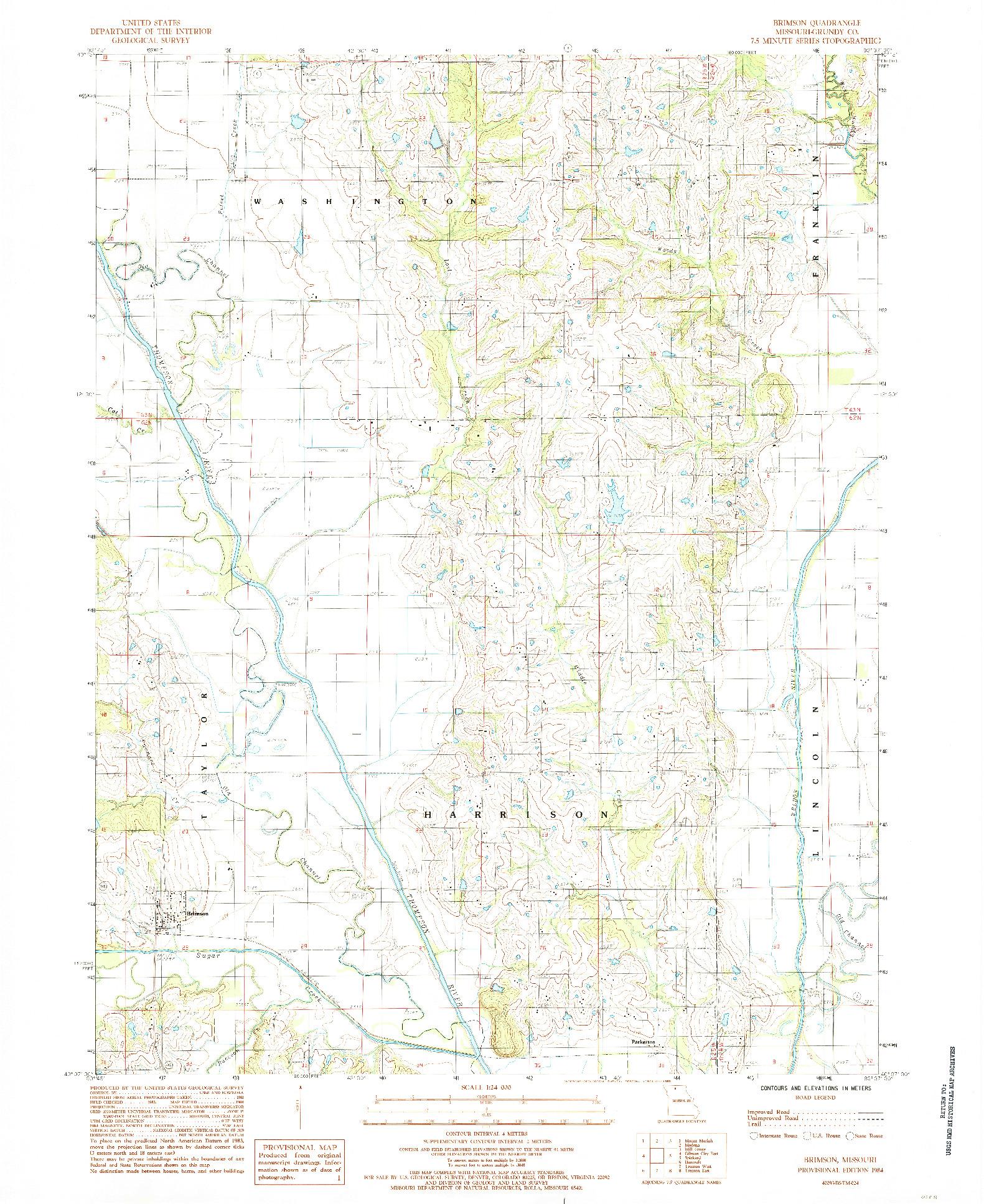 USGS 1:24000-SCALE QUADRANGLE FOR BRIMSON, MO 1984