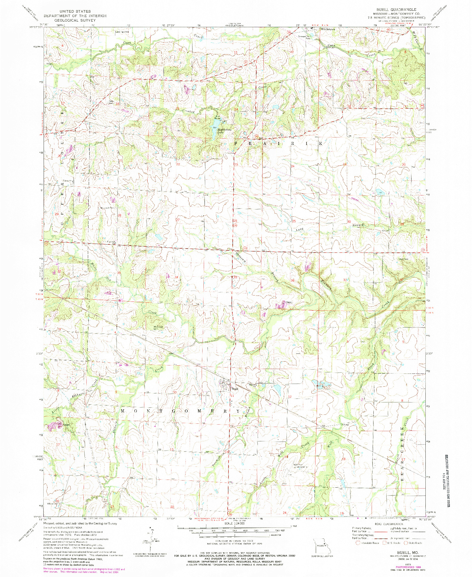 USGS 1:24000-SCALE QUADRANGLE FOR BUELL, MO 1973