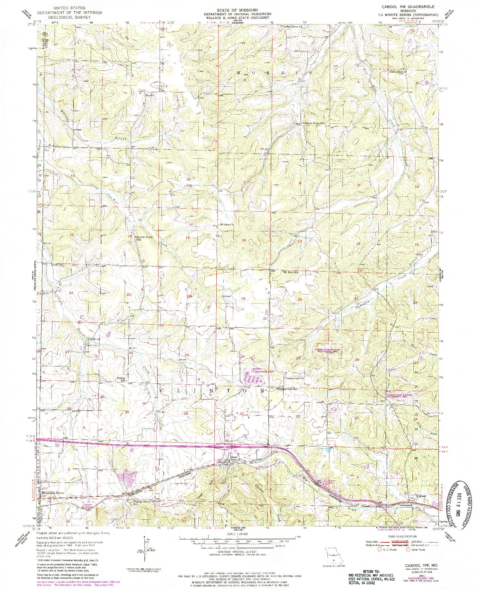 USGS 1:24000-SCALE QUADRANGLE FOR CABOOL NW, MO 1951