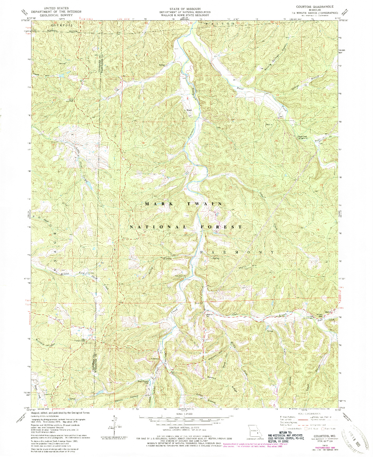 USGS 1:24000-SCALE QUADRANGLE FOR COURTOIS, MO 1978