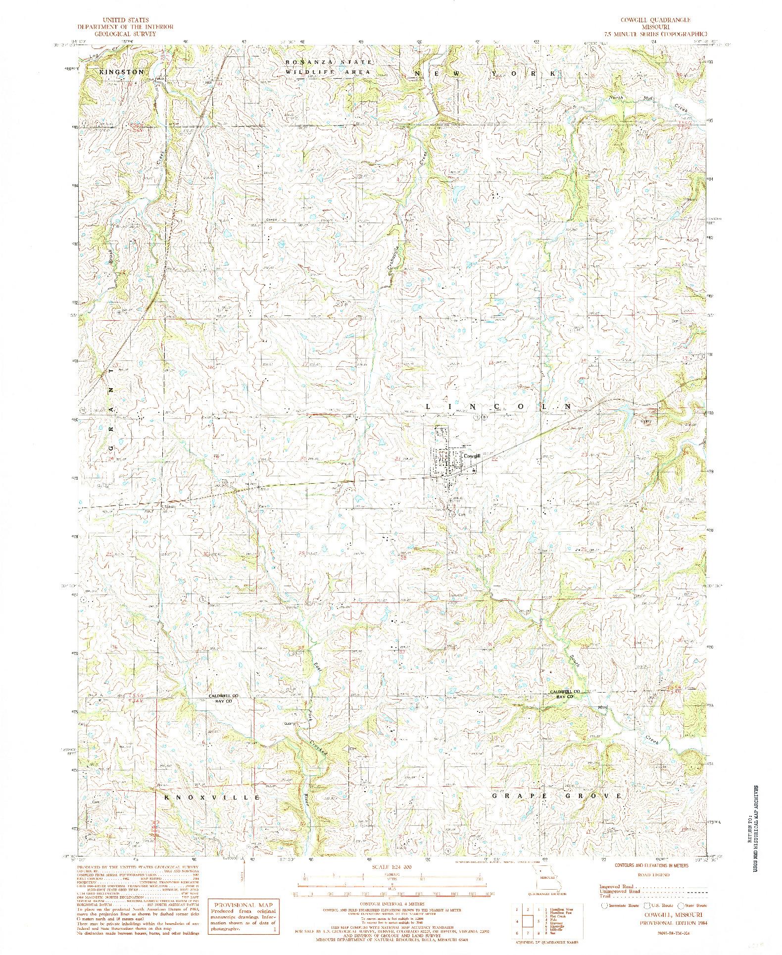 USGS 1:24000-SCALE QUADRANGLE FOR COWGILL, MO 1984