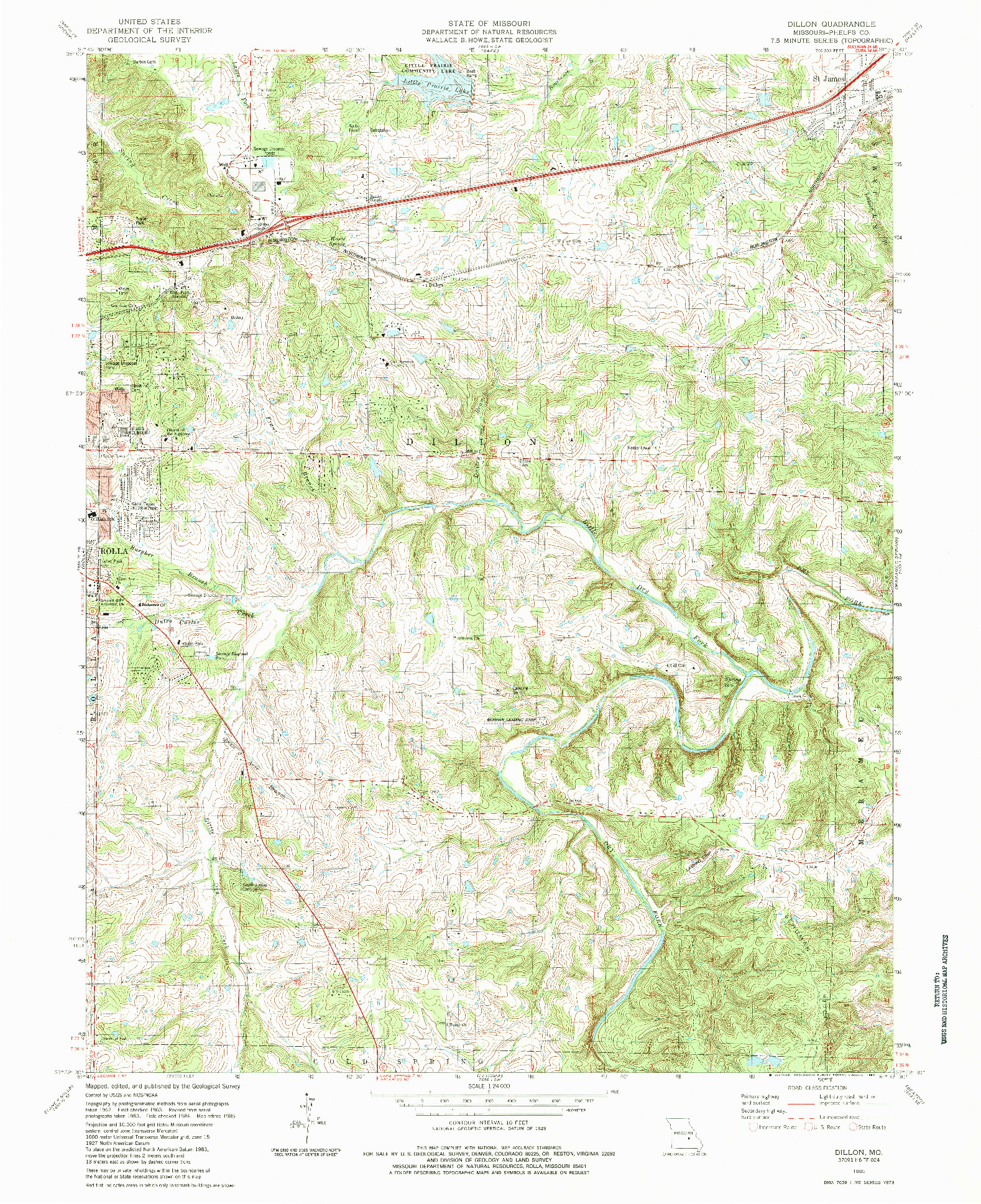 USGS 1:24000-SCALE QUADRANGLE FOR DILLON, MO 1985