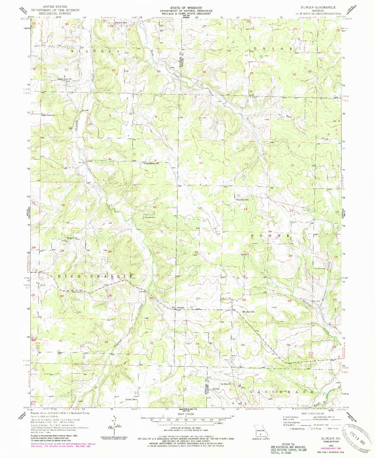 USGS 1:24000-SCALE QUADRANGLE FOR DUNCAN, MO 1956