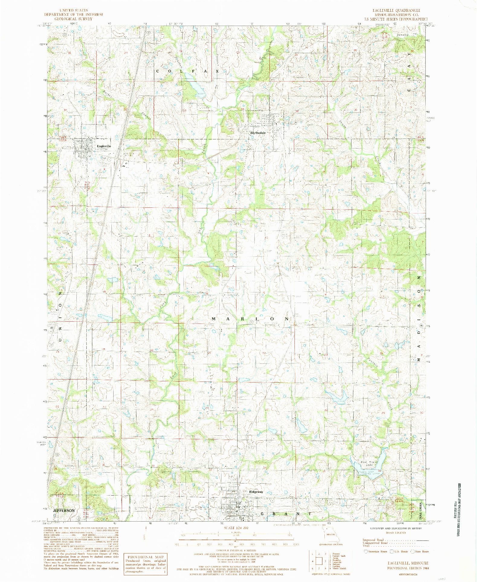 USGS 1:24000-SCALE QUADRANGLE FOR EAGLEVILLE, MO 1984