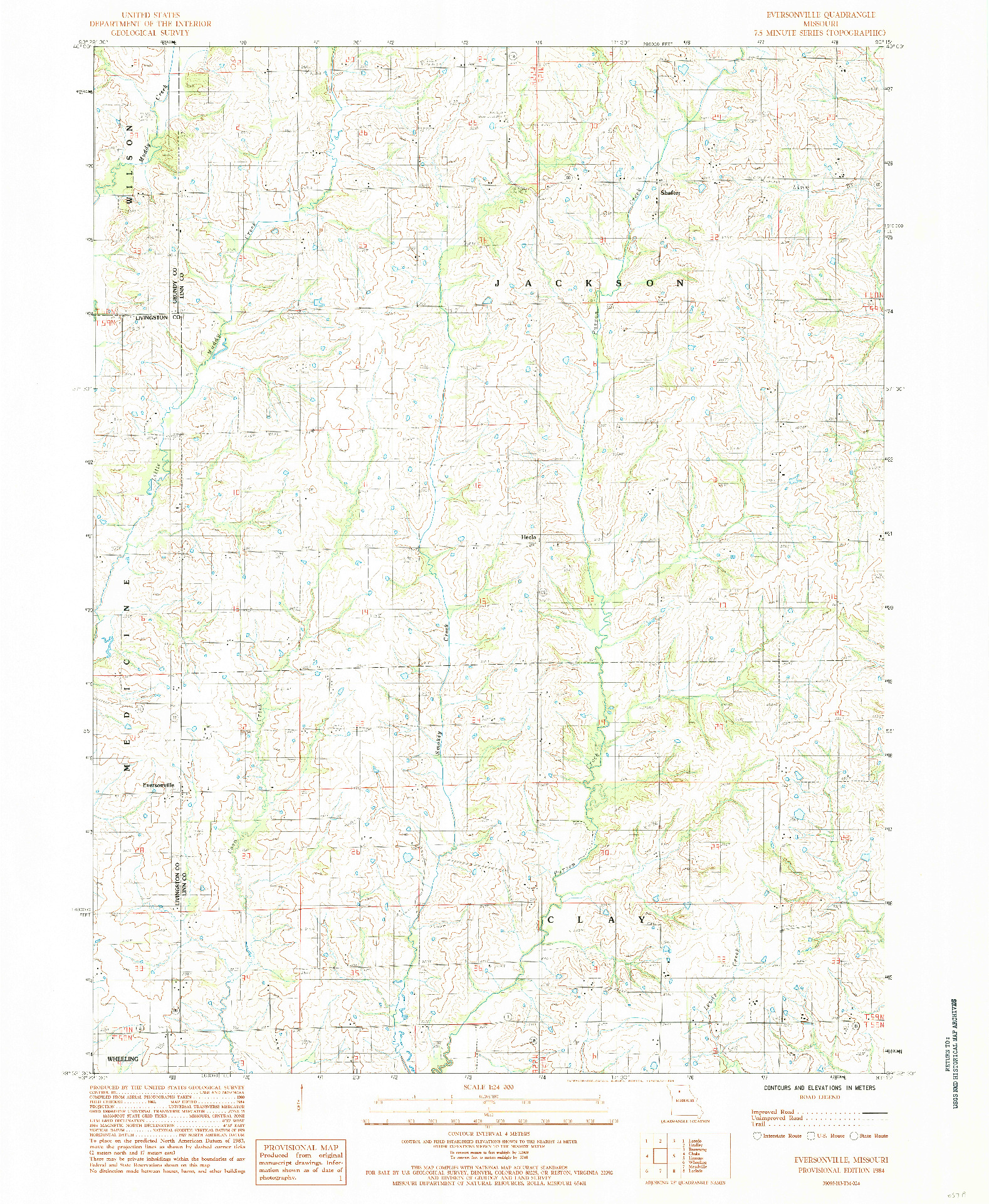 USGS 1:24000-SCALE QUADRANGLE FOR EVERSONVILLE, MO 1984