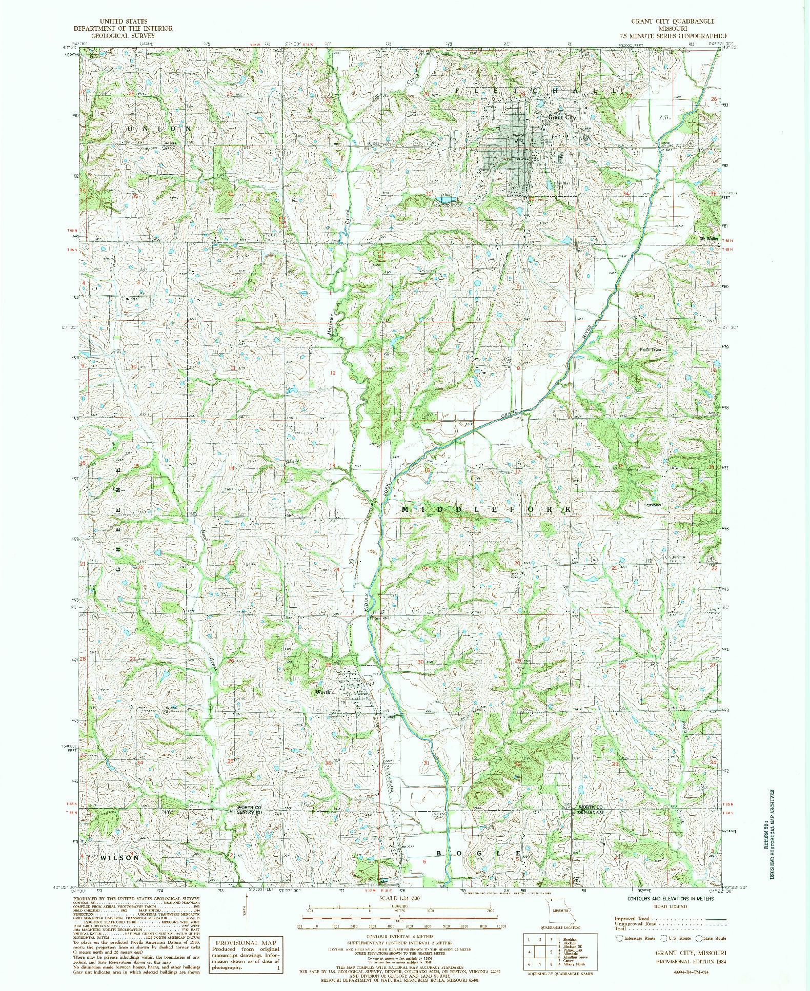 USGS 1:24000-SCALE QUADRANGLE FOR GRANT CITY, MO 1984