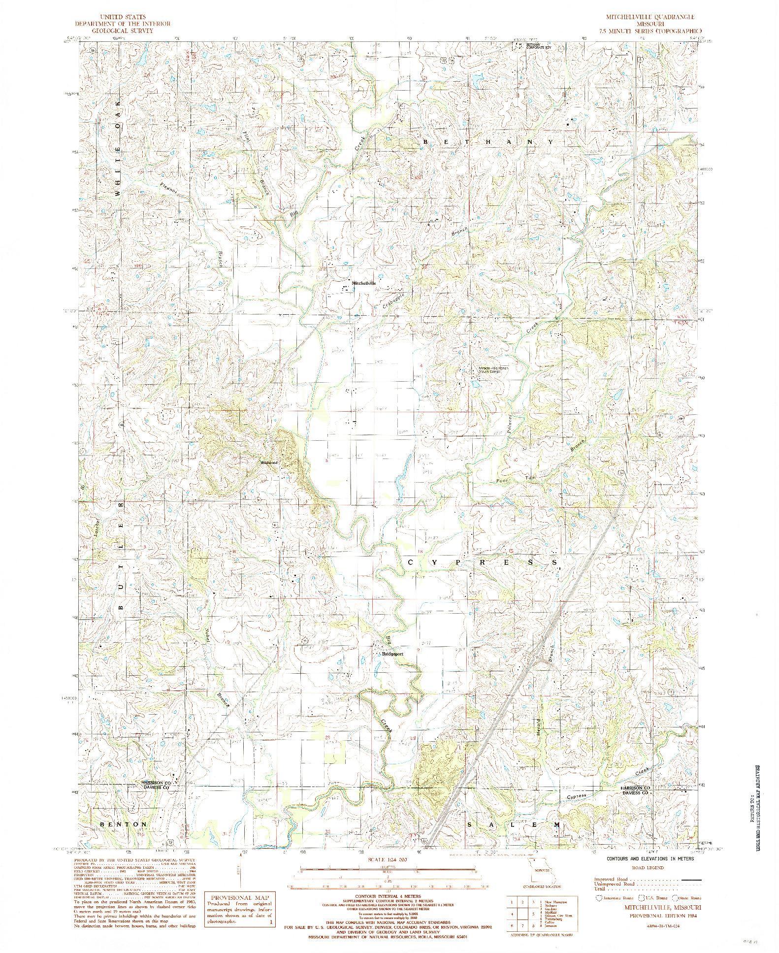 USGS 1:24000-SCALE QUADRANGLE FOR MITCHELLVILLE, MO 1984