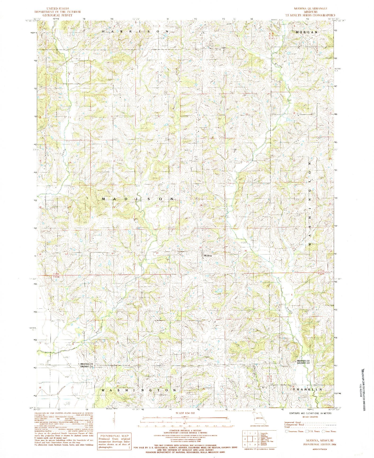 USGS 1:24000-SCALE QUADRANGLE FOR MODENA, MO 1984