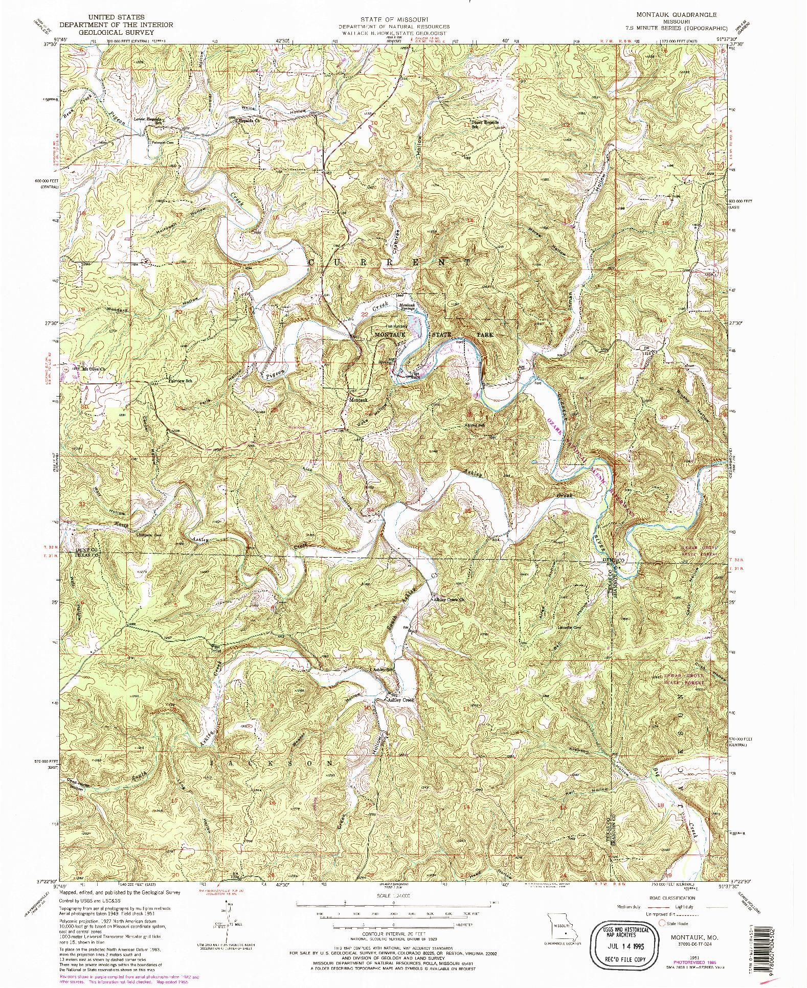 USGS 1:24000-SCALE QUADRANGLE FOR MONTAUK, MO 1951